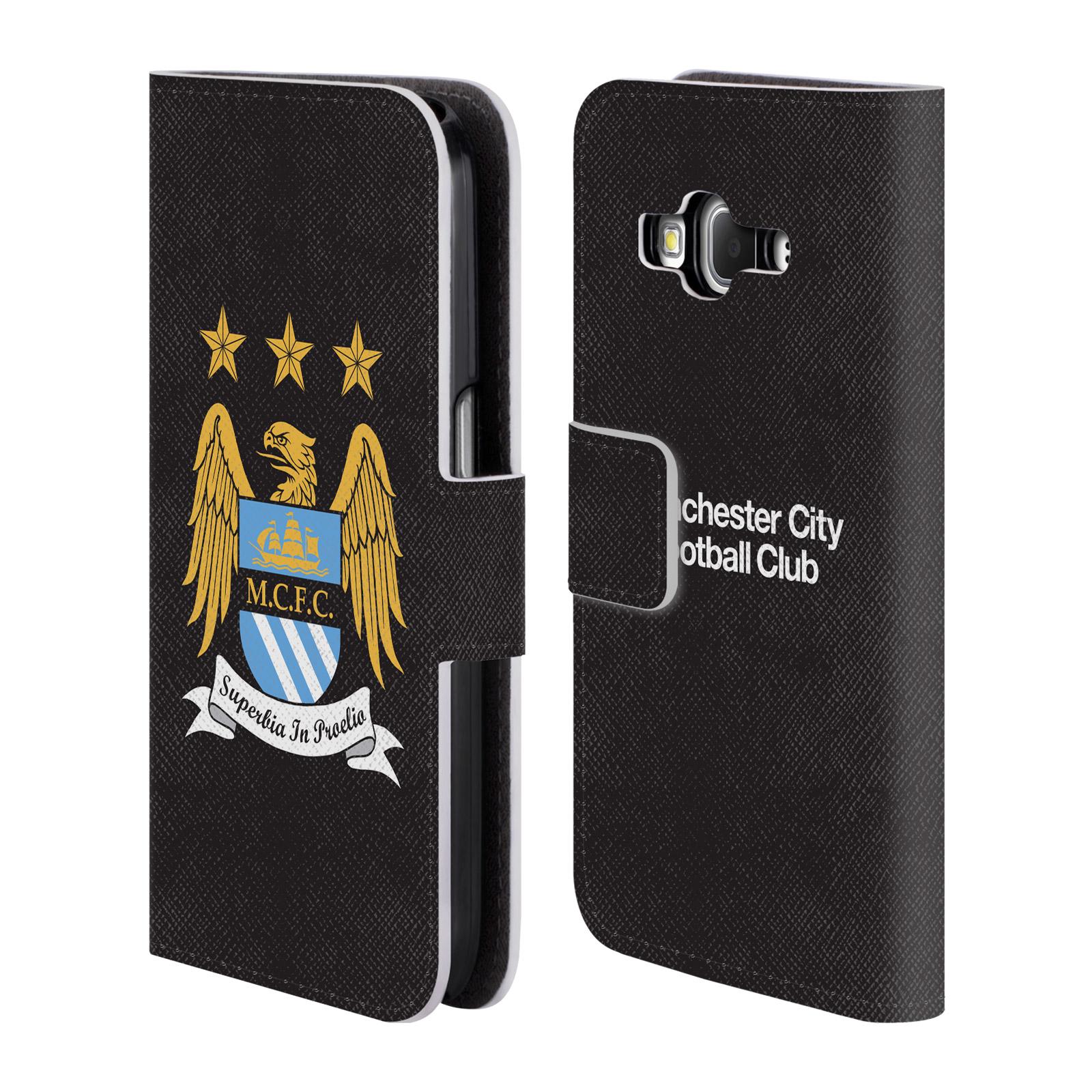 HEAD CASE Flipové pouzdro pro mobil Samsung Galaxy Core Prime (G360) / Core Prime VE (G361) Oficiální Manchester City znak a černé pozadí