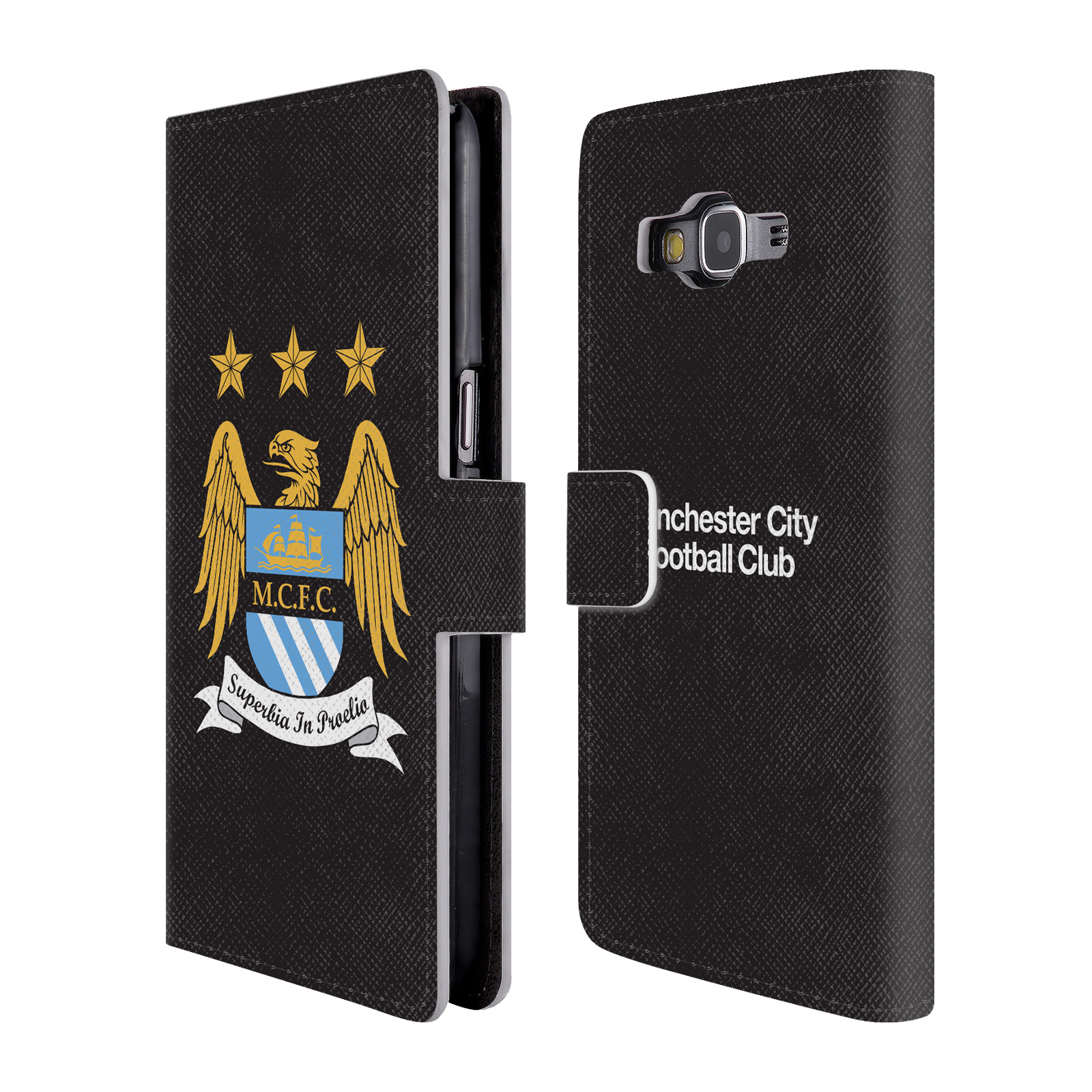 HEAD CASE Flipové pouzdro pro mobil Samsung Galaxy Grand Prime (G530) / Grand Prime VE (G531) Oficiální Manchester City znak a černé pozadí