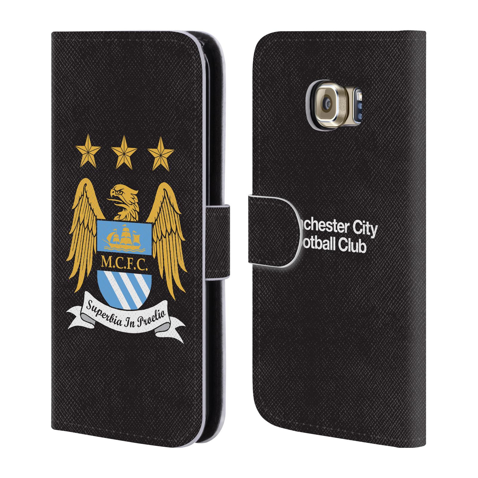 HEAD CASE Flipové pouzdro pro mobil Samsung Galaxy S6 EDGE (G925) Oficiální Manchester City znak a černé pozadí