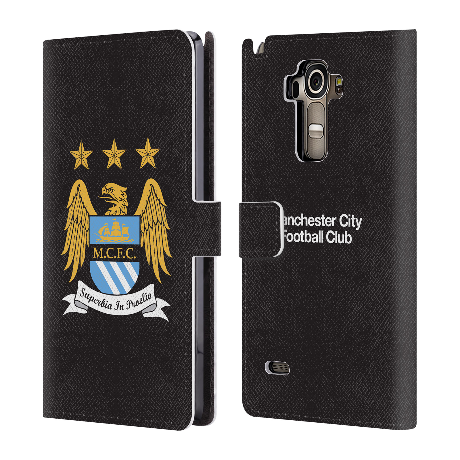 HEAD CASE Flipové pouzdro pro mobil LG G4 STYLUS (H635) Oficiální Manchester City znak a černé pozadí