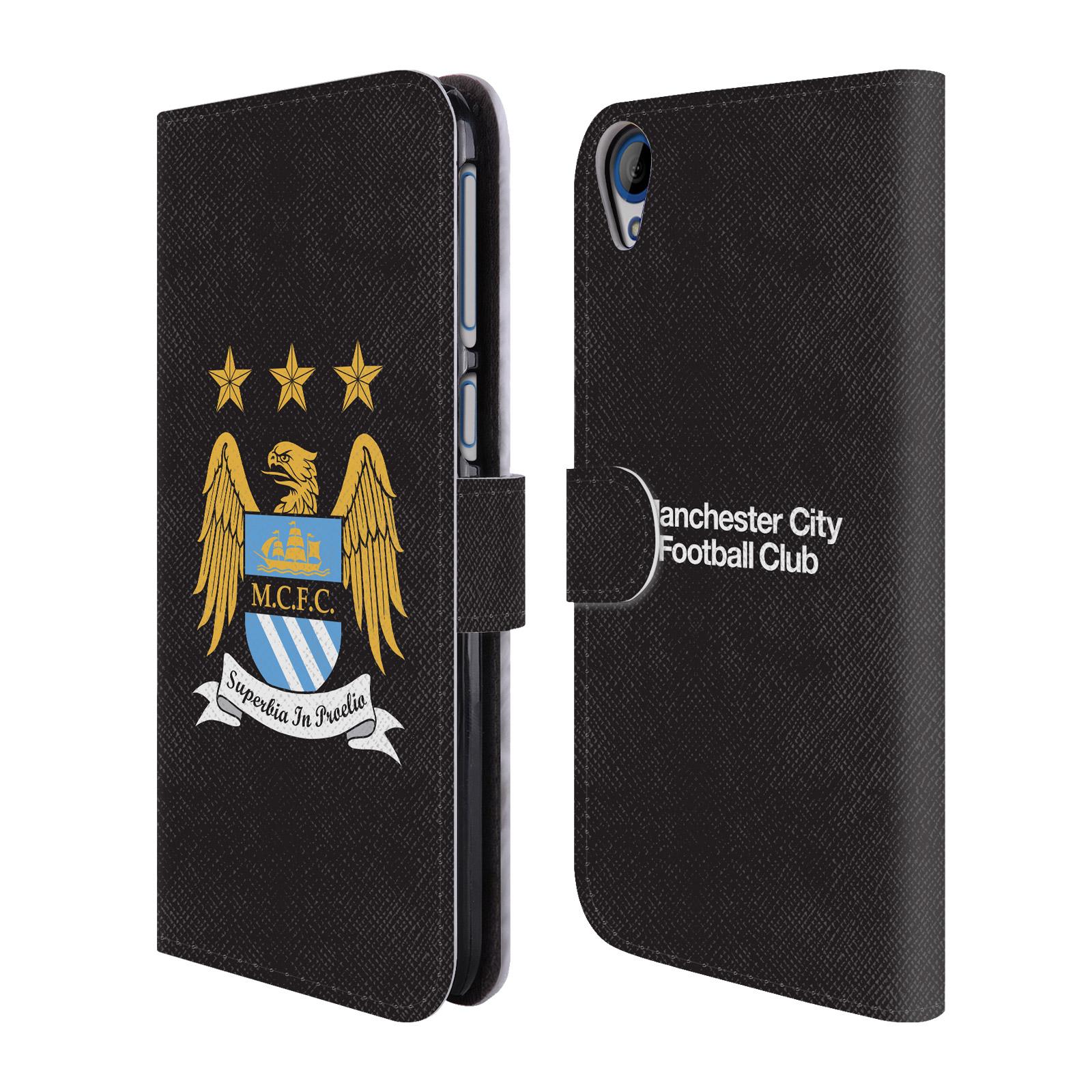 HEAD CASE Flipové pouzdro pro mobil HTC Desire 820 Oficiální Manchester City znak a černé pozadí