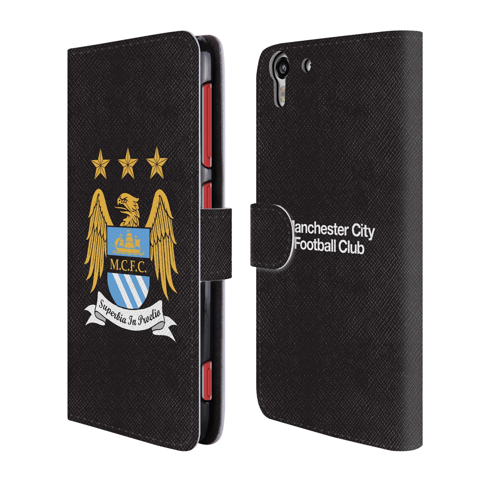 HEAD CASE Flipové pouzdro pro mobil HTC Desire EYE Oficiální Manchester City znak a černé pozadí