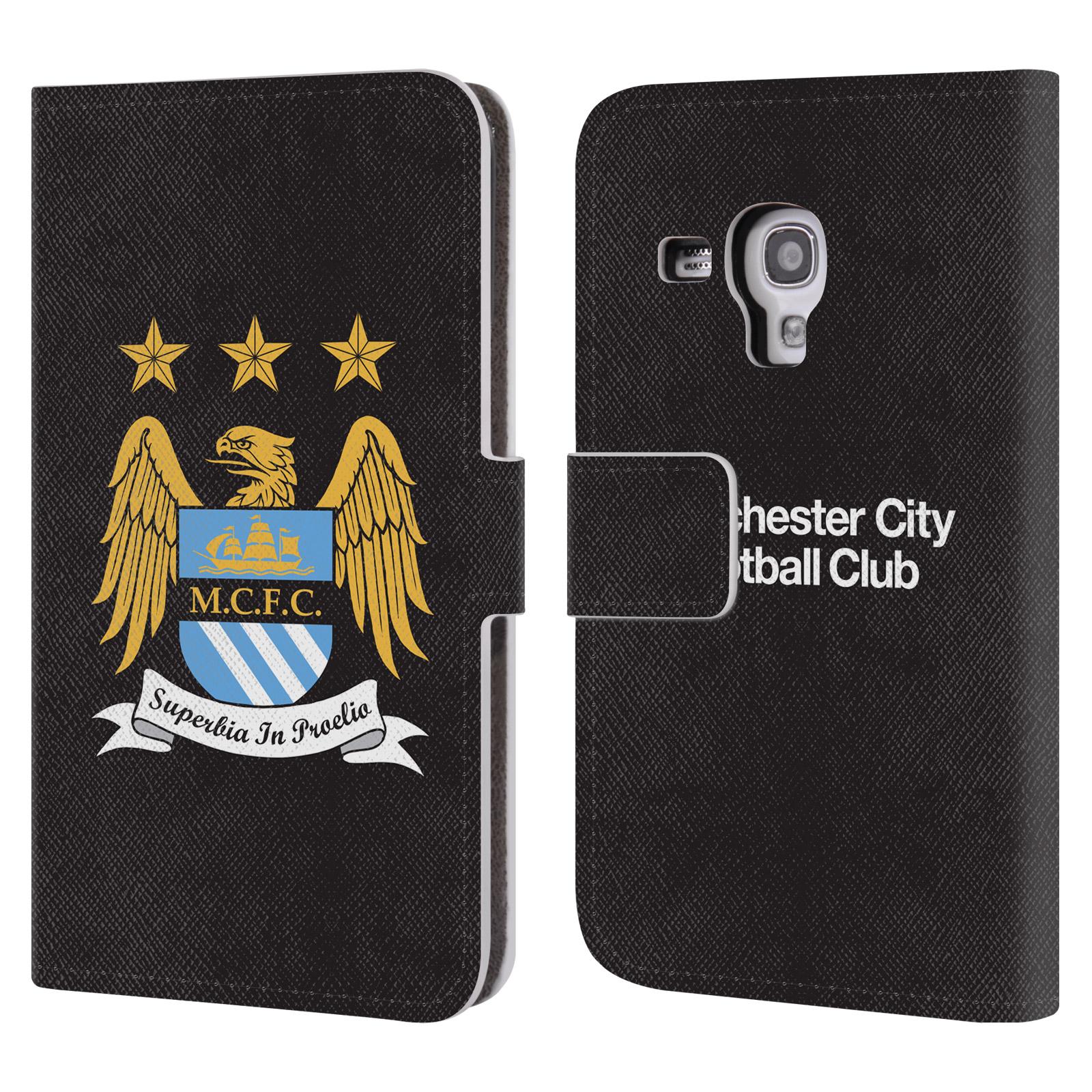 HEAD CASE Flipové pouzdro pro mobil Samsung Galaxy S3 MINI (i8190) / S3 MINI VE (i8200) Oficiální Manchester City znak a černé pozadí
