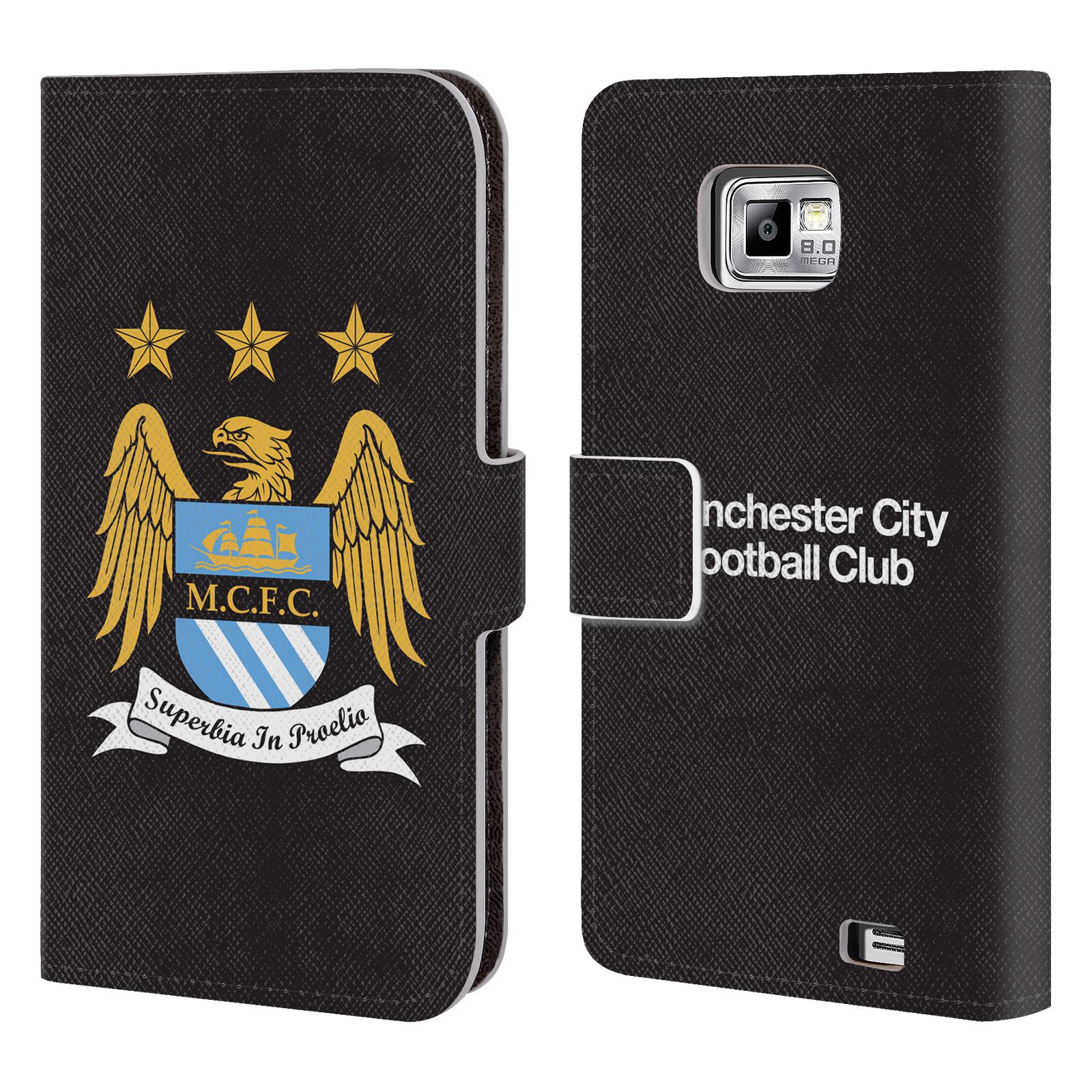 HEAD CASE Flipové pouzdro pro mobil Samsung Galaxy S2 (i9100) Oficiální Manchester City znak a černé pozadí
