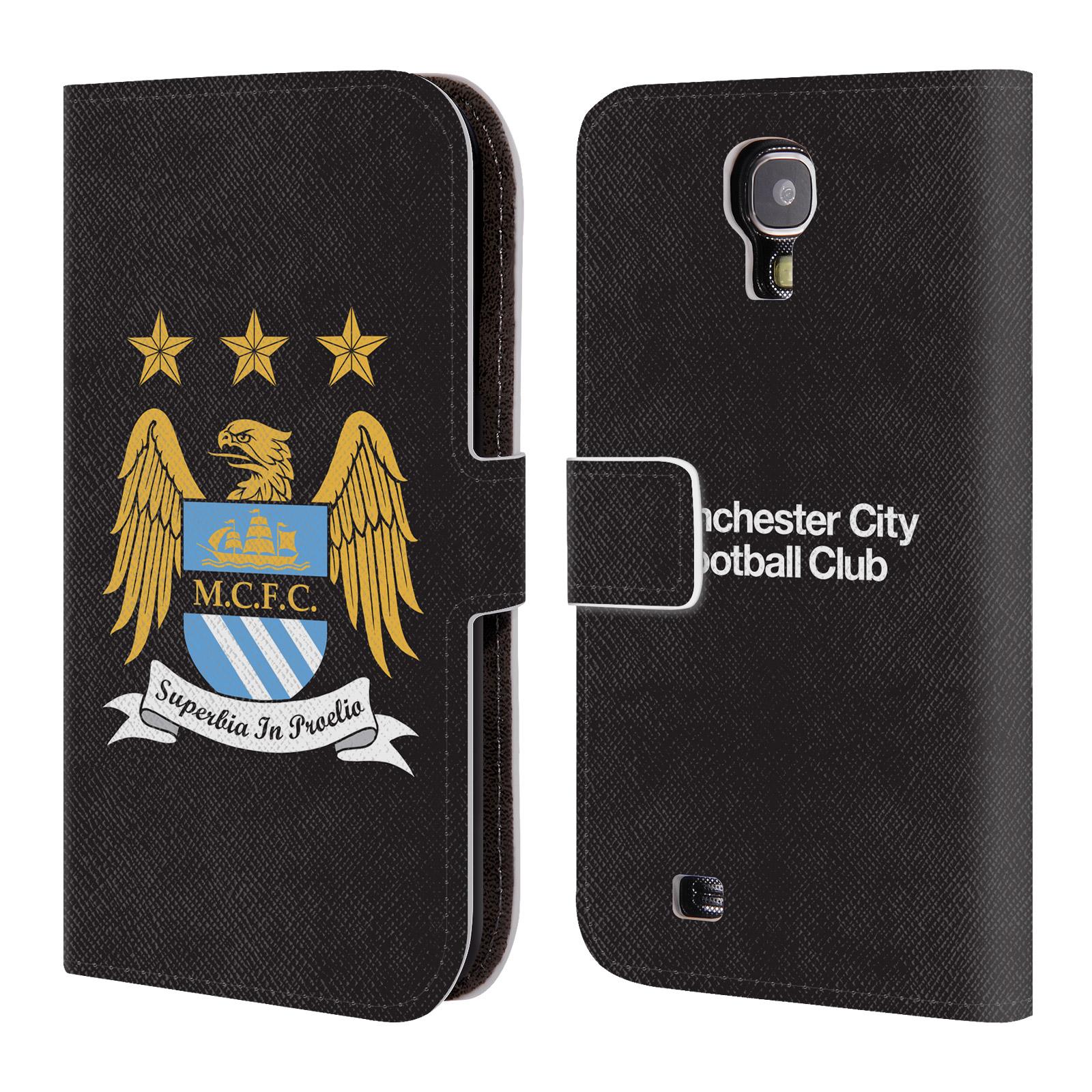HEAD CASE Flipové pouzdro pro mobil Samsung Galaxy S4 Oficiální Manchester City znak a černé pozadí