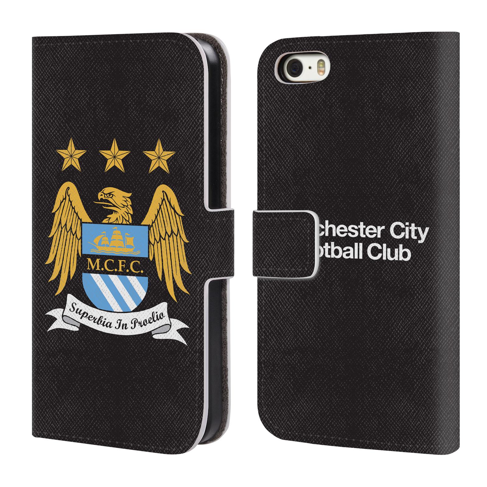 HEAD CASE Flipové pouzdro pro mobil Apple Iphone 5 / 5S / SE Oficiální Manchester City znak a černé pozadí