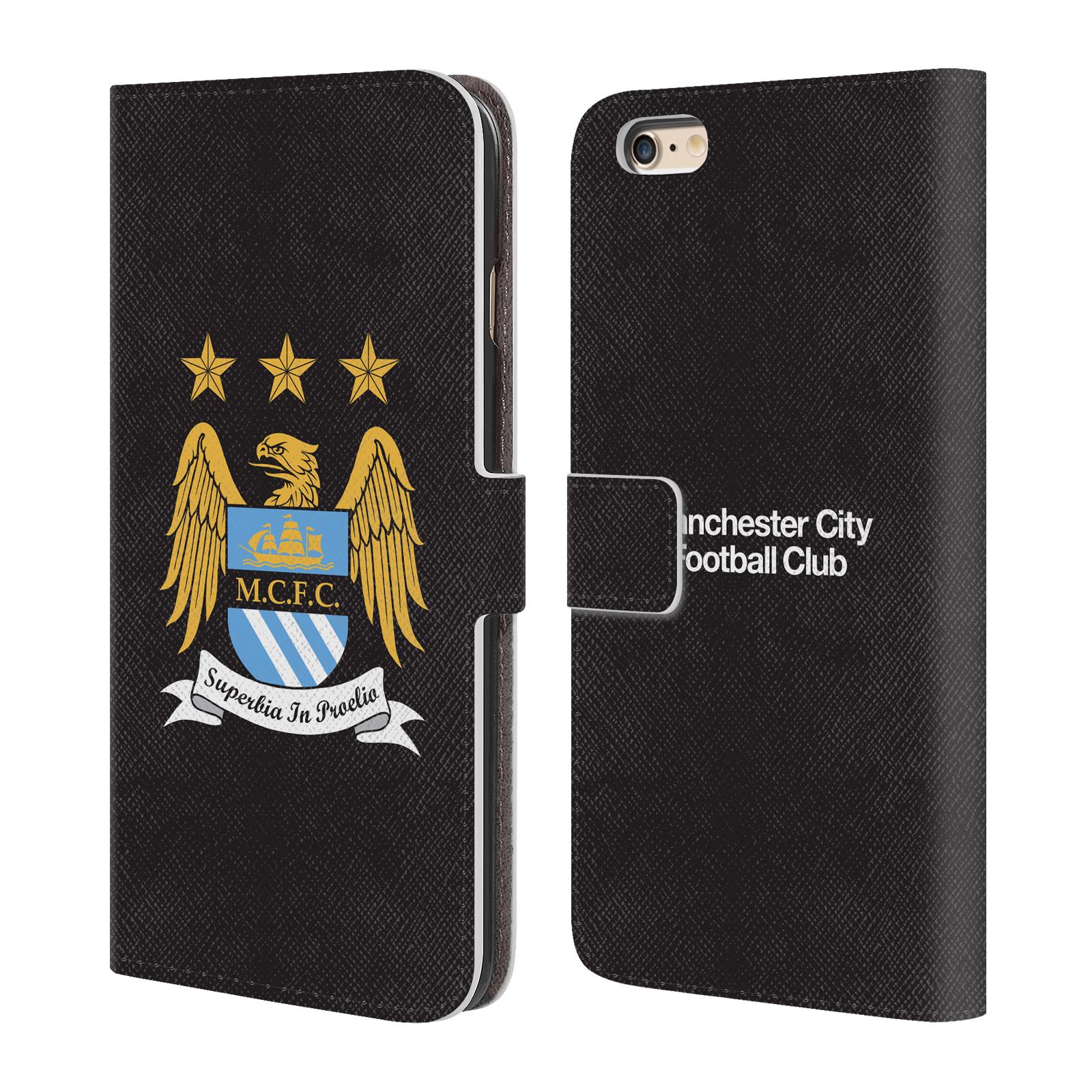 HEAD CASE Flipové pouzdro pro mobil Apple Iphone 6 PLUS / 6S PLUS Oficiální Manchester City znak a černé pozadí