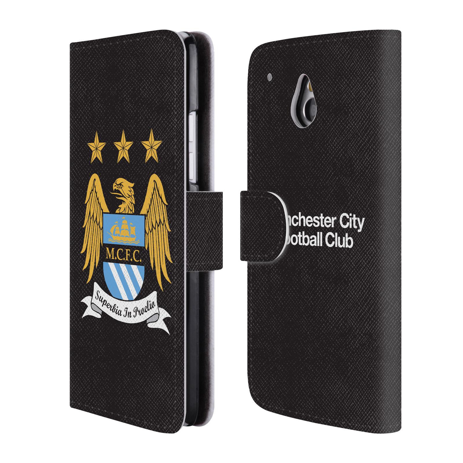 HEAD CASE Flipové pouzdro pro mobil HTC One MINI (M4) Oficiální Manchester City znak a černé pozadí