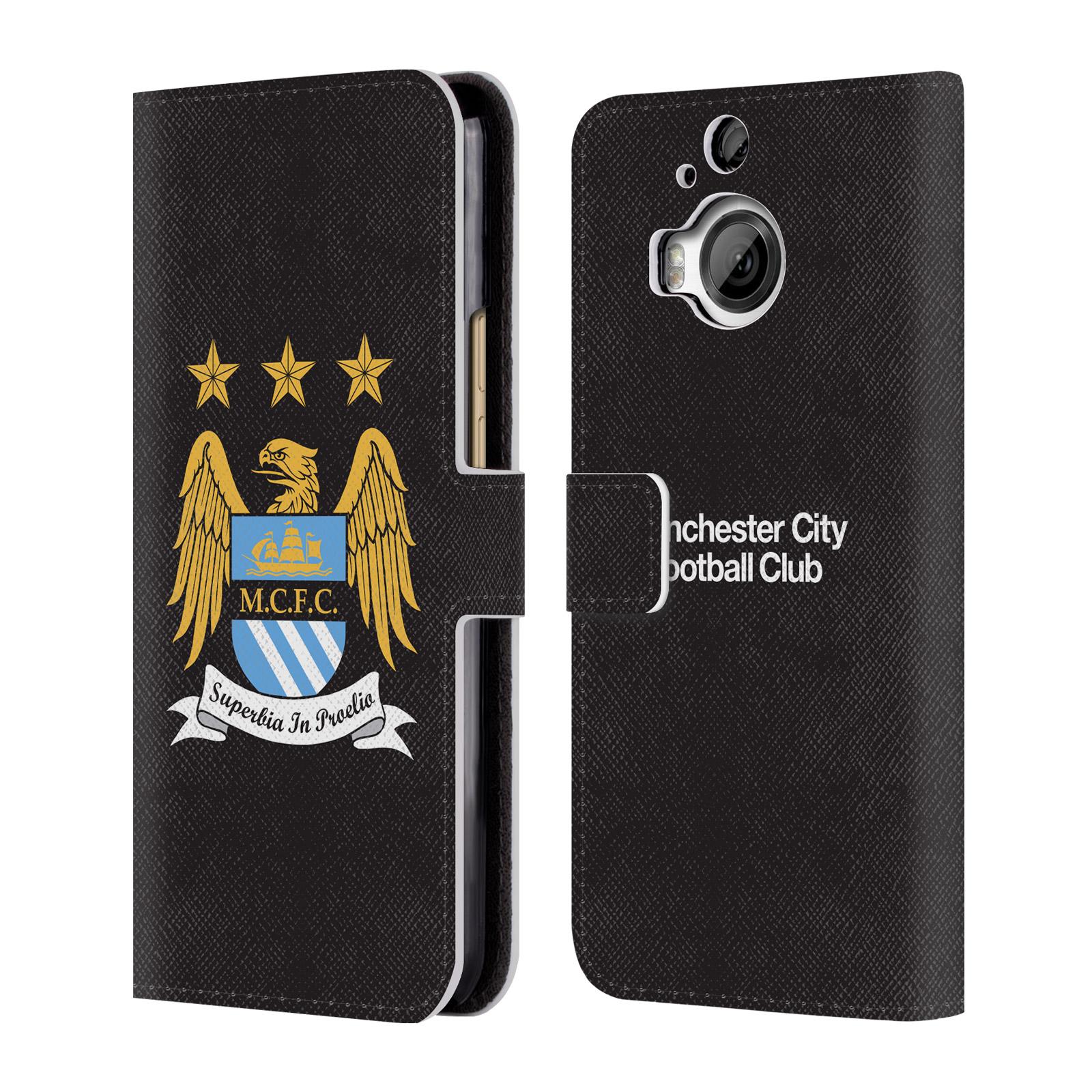 HEAD CASE Flipové pouzdro pro mobil HTC One M9+ (M9 PLUS) Oficiální Manchester City znak a černé pozadí