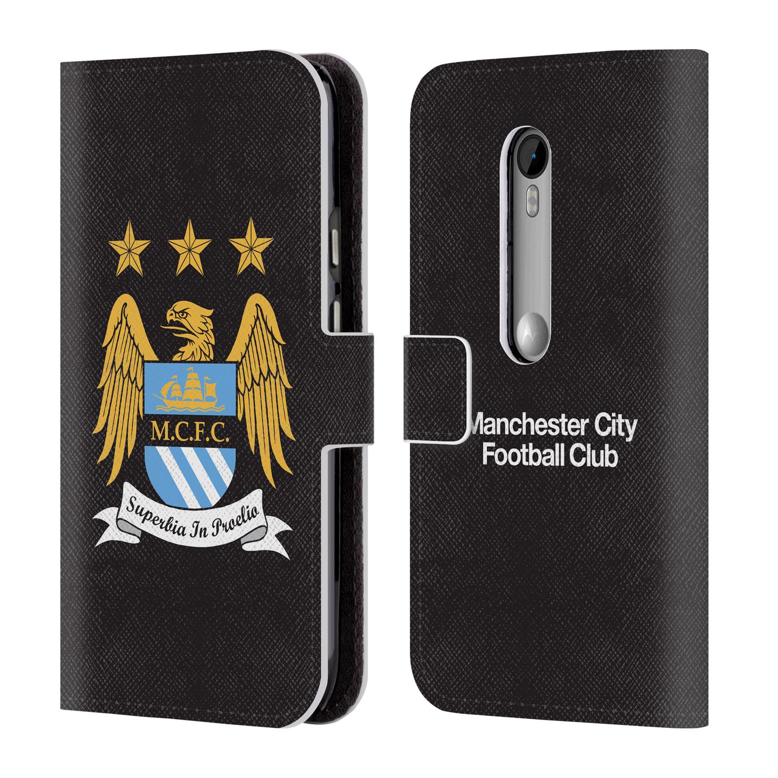 HEAD CASE Flipové pouzdro pro mobil Motorola Moto G3 (Moto G 3rd. gen) Oficiální Manchester City znak a černé pozadí