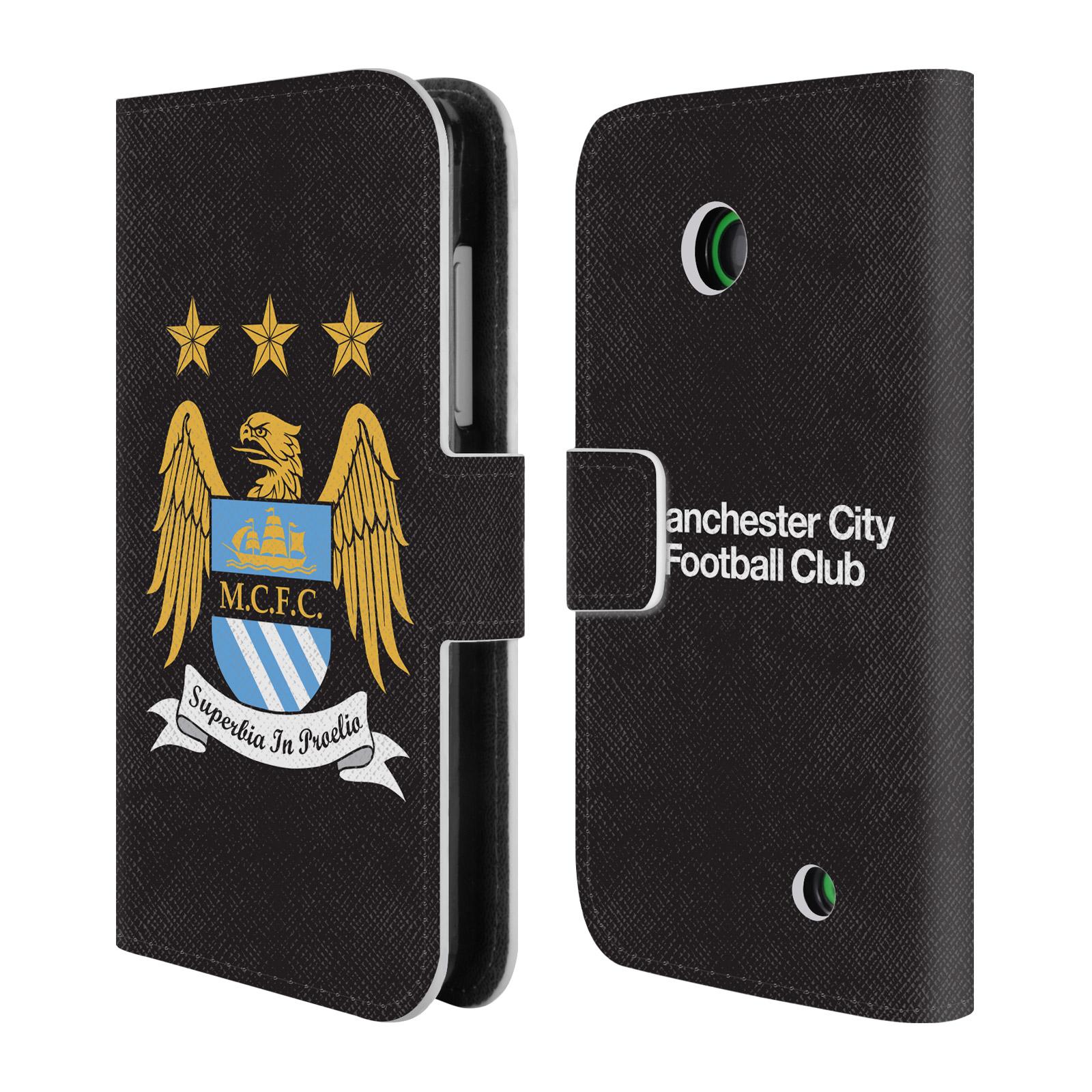 HEAD CASE Flipové pouzdro pro mobil Nokia Lumia 630 Oficiální Manchester City znak a černé pozadí