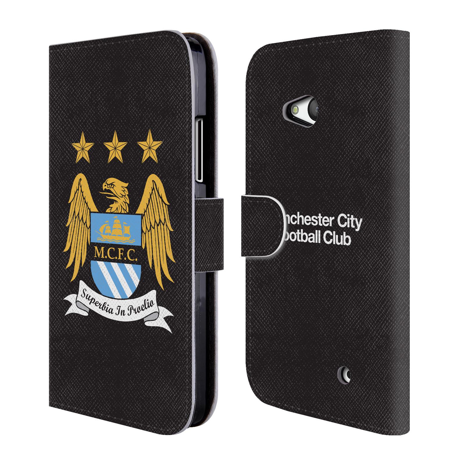 HEAD CASE Flipové pouzdro pro mobil Microsoft Lumia 640 Oficiální Manchester City znak a černé pozadí