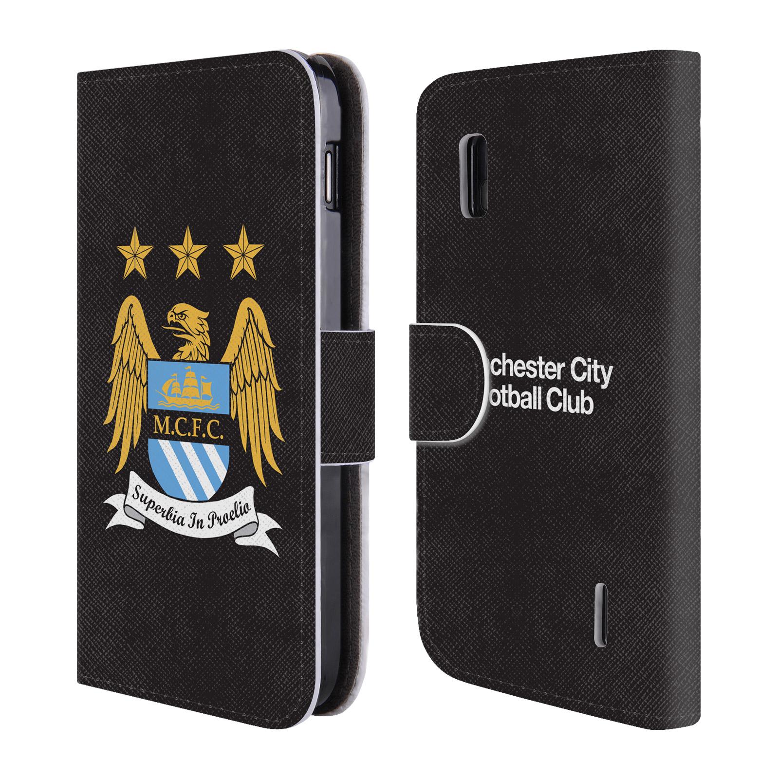 HEAD CASE Flipové pouzdro pro mobil LG Nexus 4 Oficiální Manchester City znak a černé pozadí