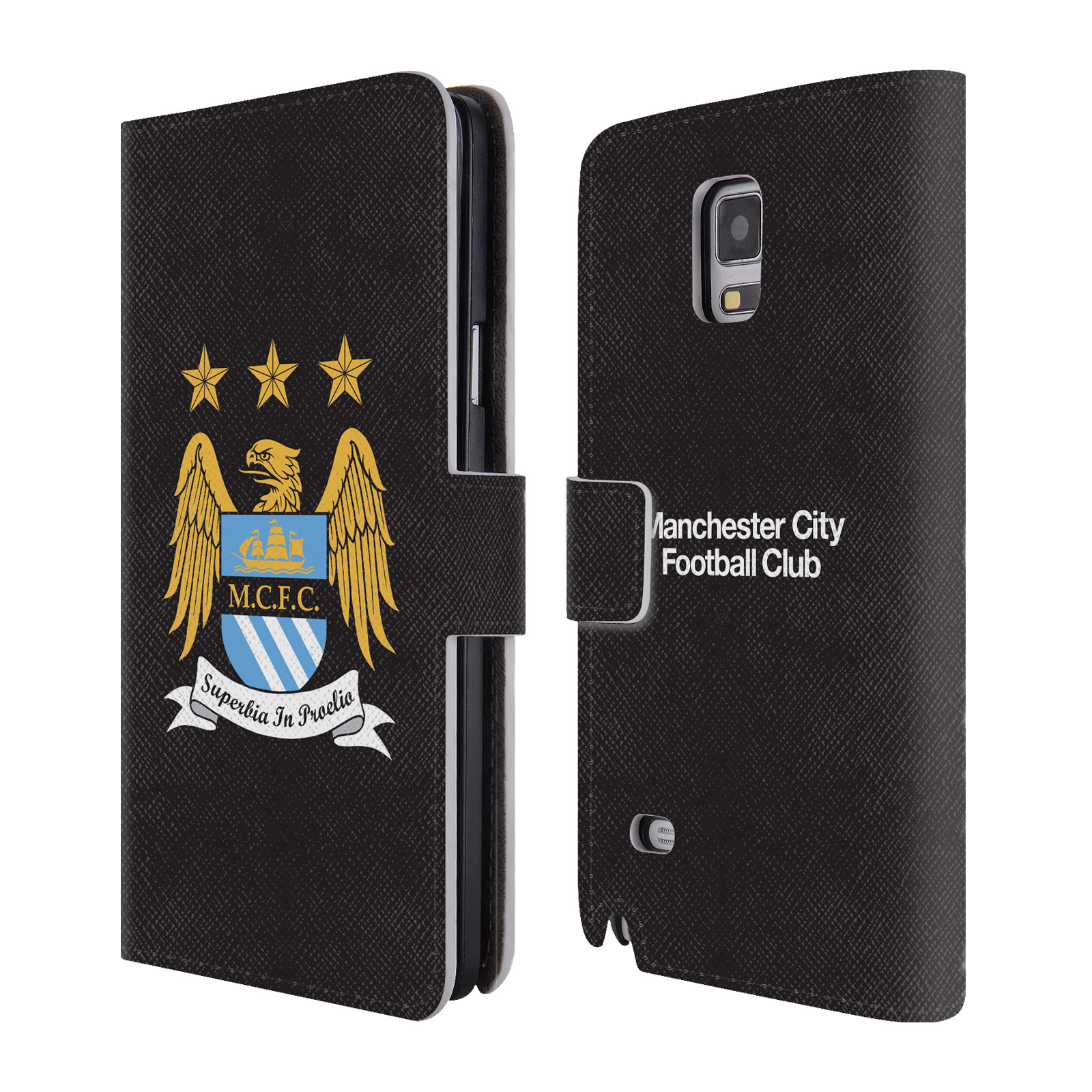 HEAD CASE Flipové pouzdro pro mobil Samsung Galaxy Note 4 (N910) Oficiální Manchester City znak a černé pozadí