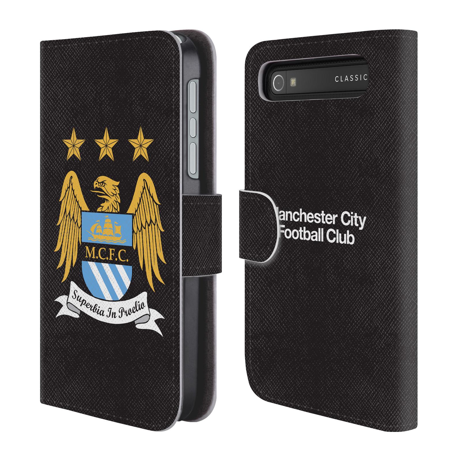 HEAD CASE Flipové pouzdro pro mobil Blackberry Classic Oficiální Manchester City znak a černé pozadí
