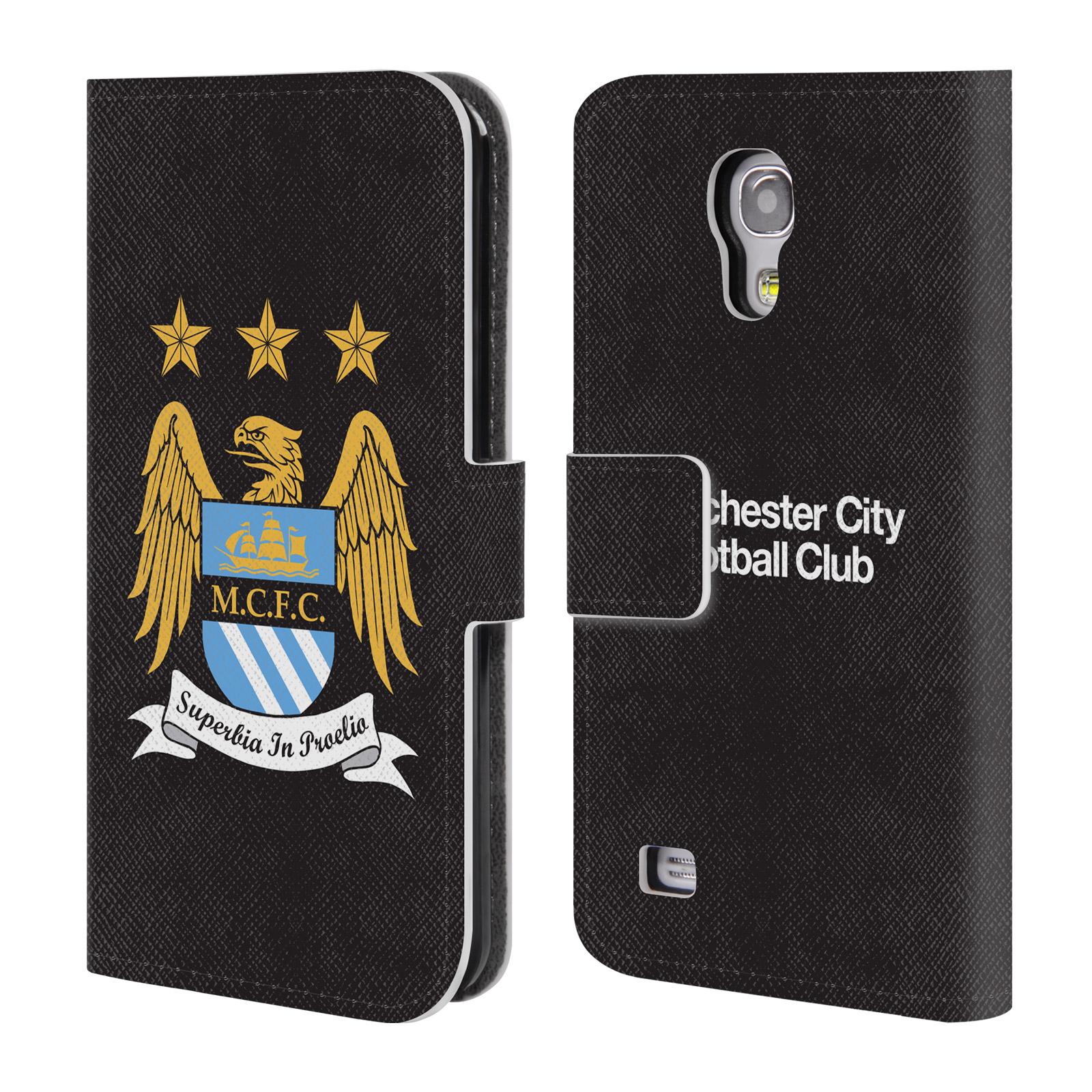 HEAD CASE Flipové pouzdro pro mobil Samsung Galaxy S4 MINI / S4 MINI VE Oficiální Manchester City znak a černé pozadí