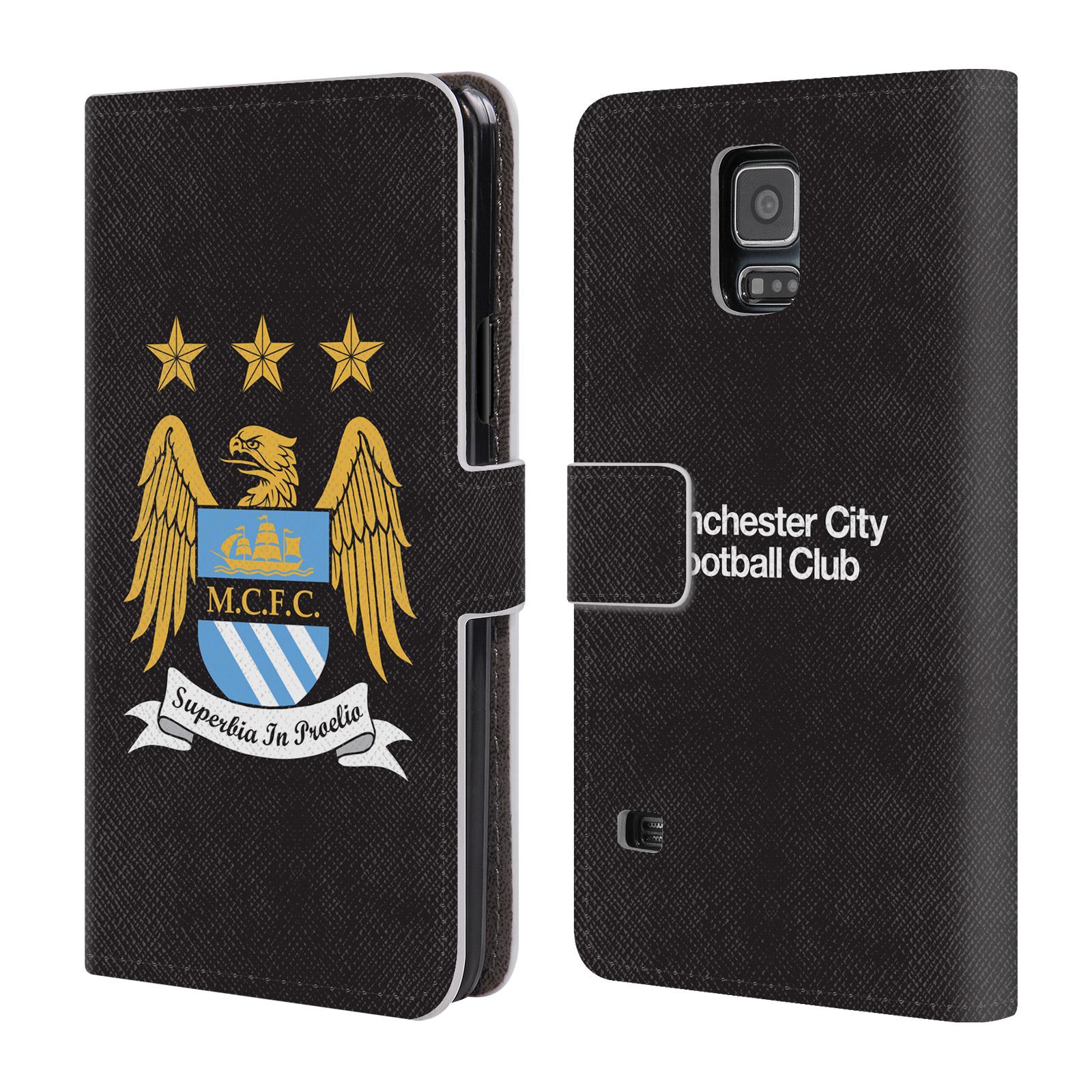 HEAD CASE Flipové pouzdro pro mobil Samsung Galaxy S5 / S5 NEO Oficiální Manchester City znak a černé pozadí