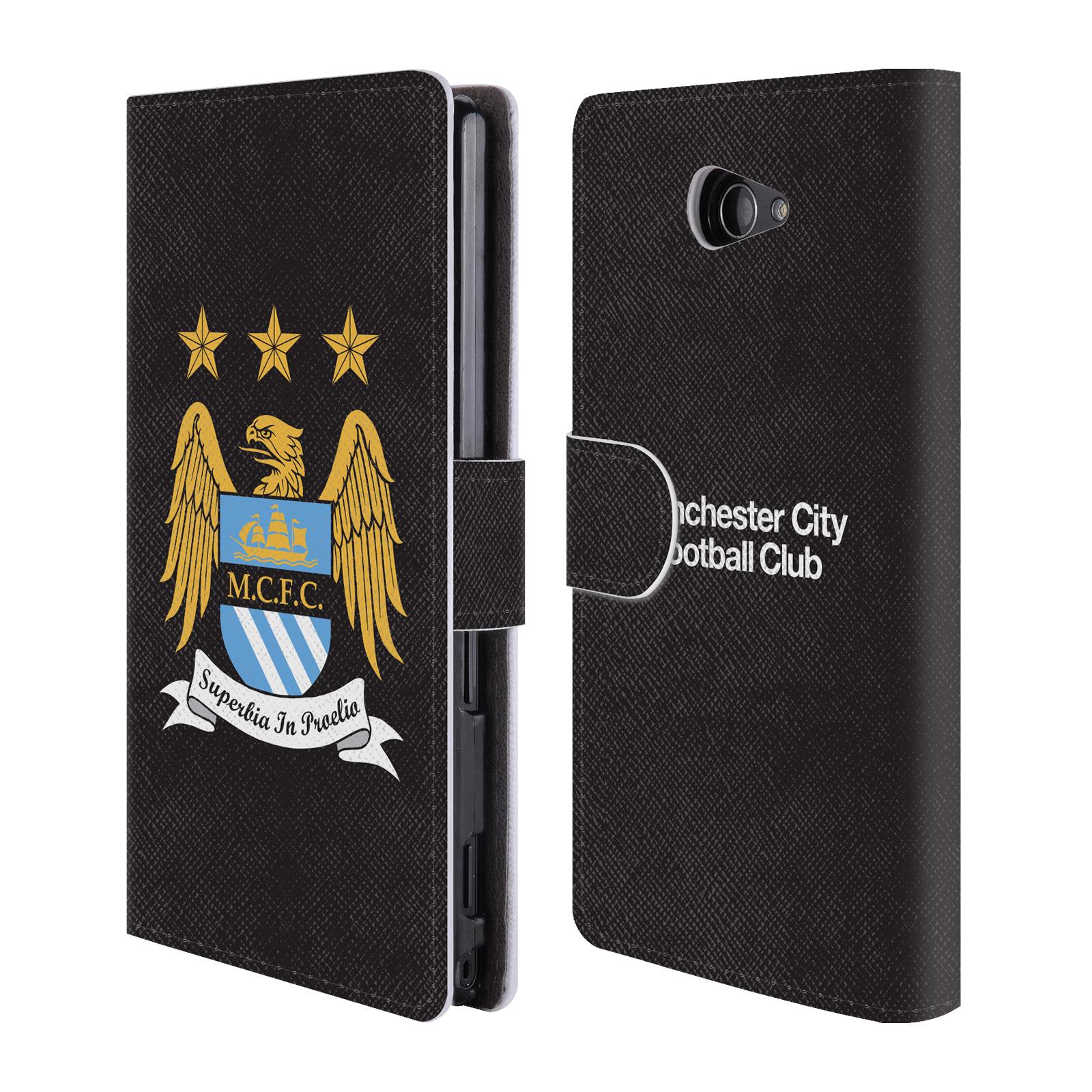 HEAD CASE Flipové pouzdro pro mobil Sony Xperia M2 Oficiální Manchester City znak a černé pozadí