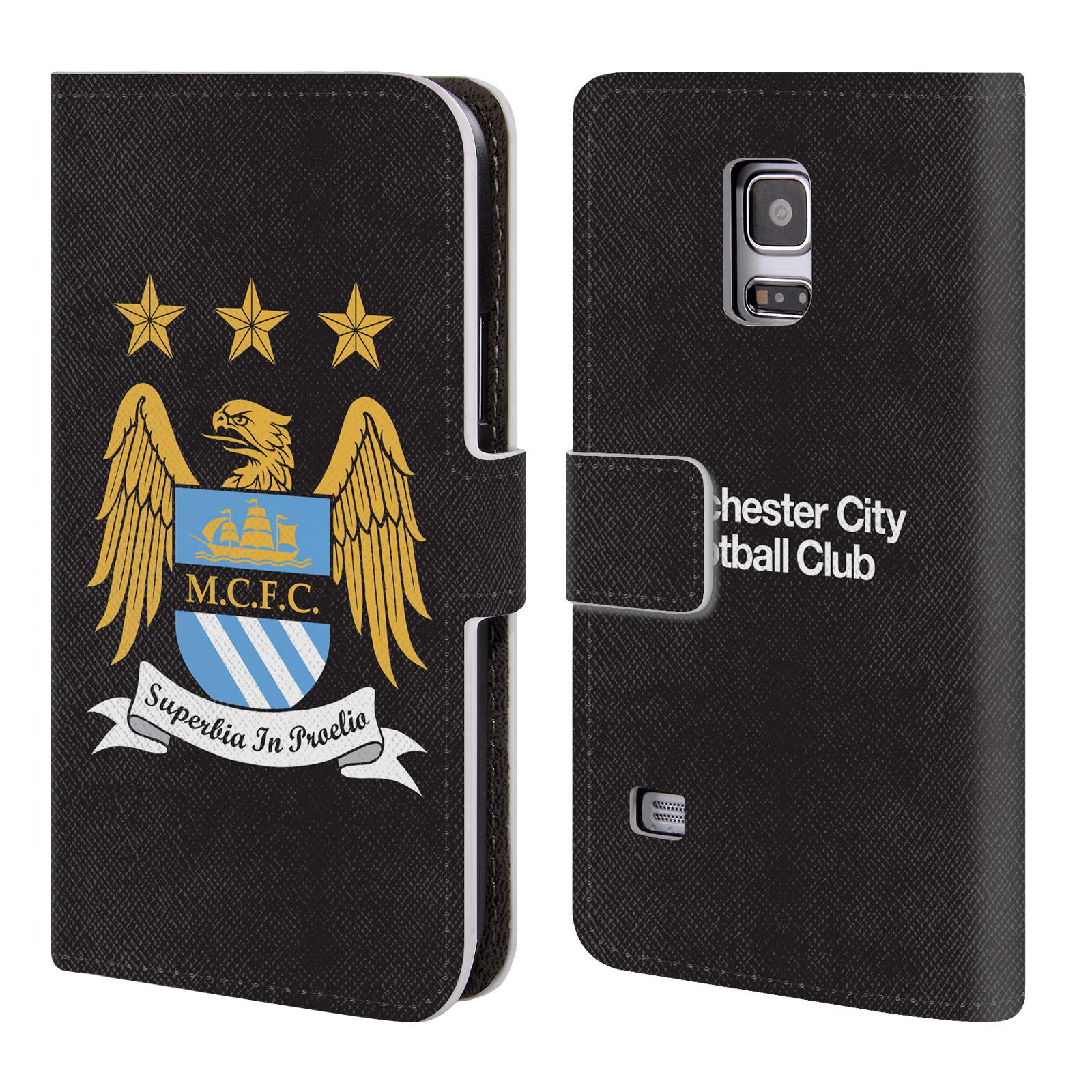 HEAD CASE Flipové pouzdro pro mobil Samsung Galaxy S5 MINI / S5 MINI DUOS Oficiální Manchester City znak a černé pozadí