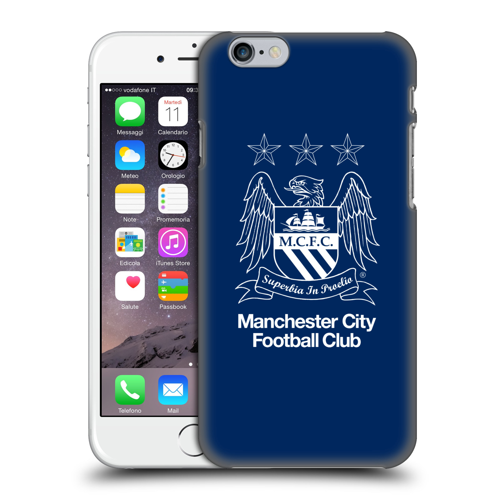Manchester City FC MCFC Crest-Outline White on Obsidian