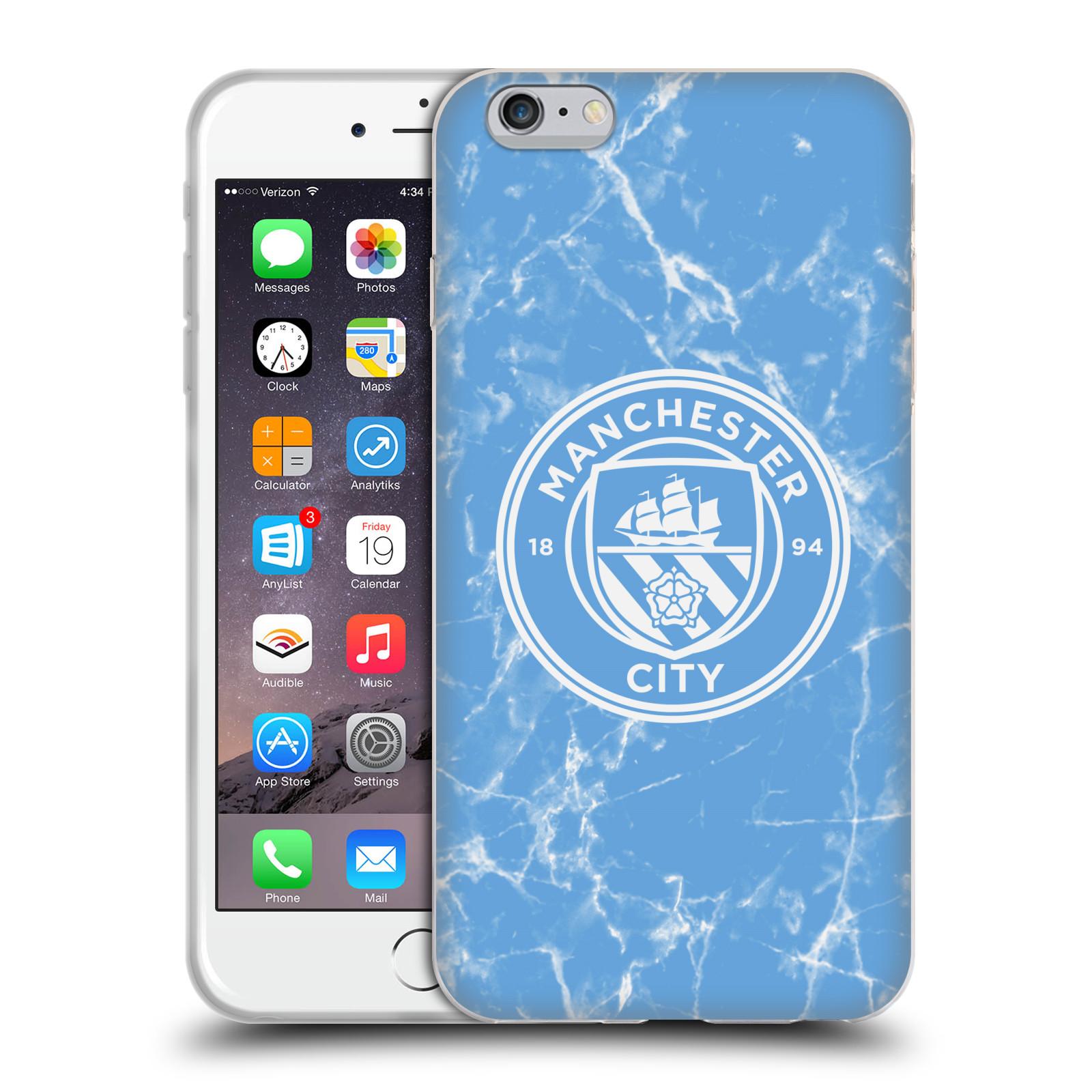 HEAD CASE silikonový obal na mobil Apple Iphone 6/6S PLUS Fotbalový klub Manchester City modrý mramor