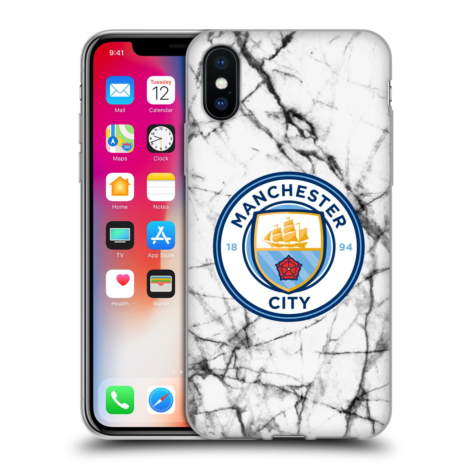 HEAD CASE silikonový obal na mobil Apple Iphone X Fotbalový klub Manchester  City bílý mramor 987edbda055