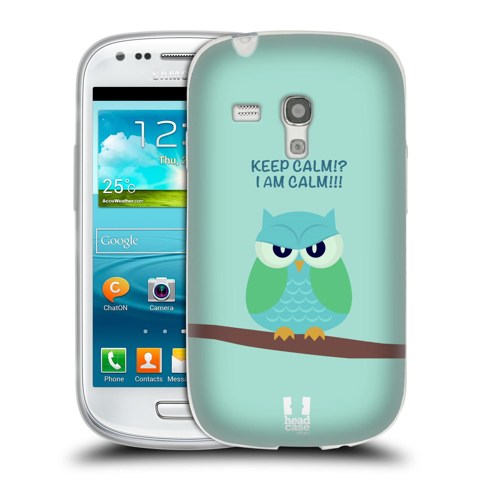 HEAD CASE silikonový obal na mobil Samsung Galaxy S3 MINI i8190 vzor Velká sovička na větvi ZELENÁ 2