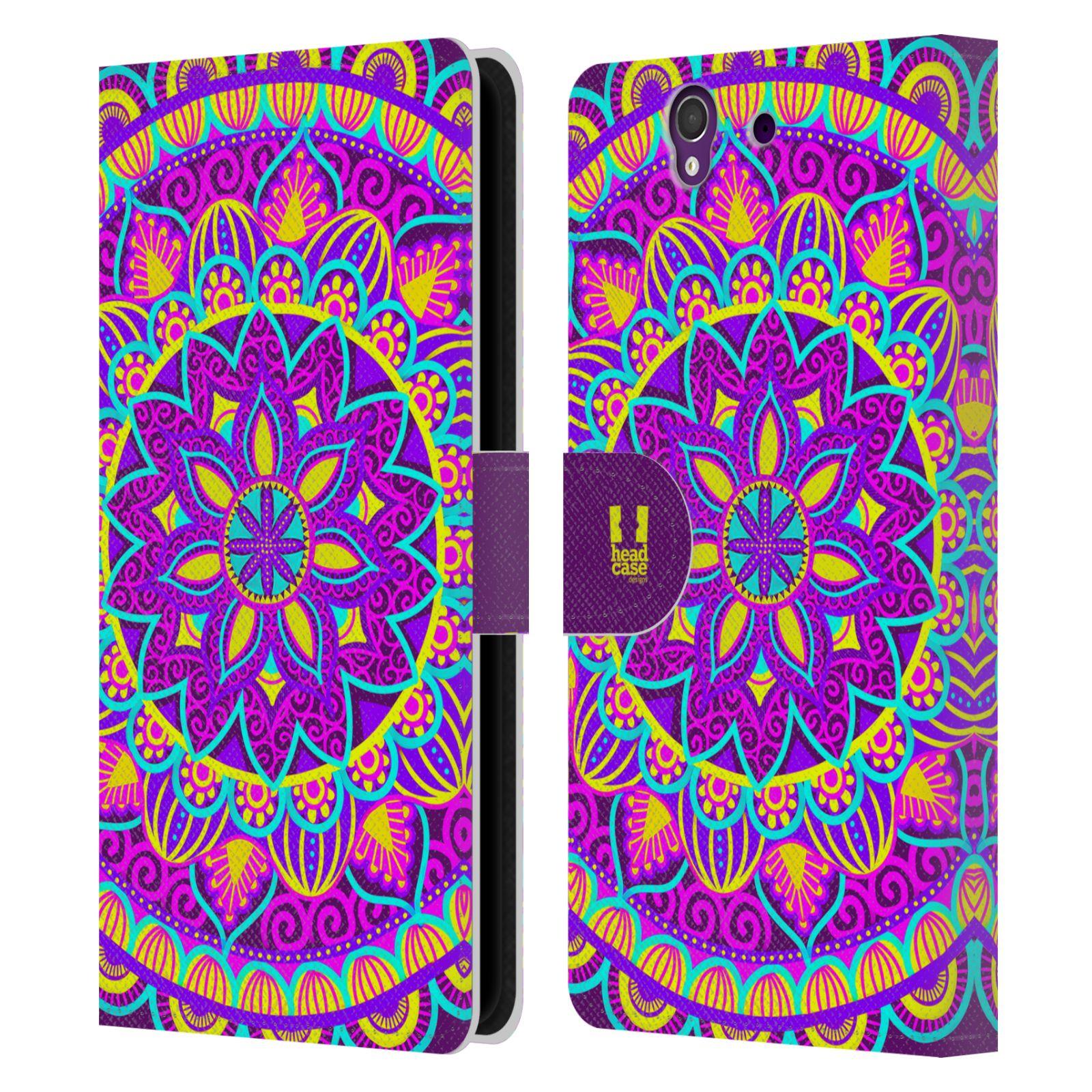 HEAD CASE Flipové pouzdro pro mobil SONY XPERIA Z (C6603) květinová mandala barevná fialová