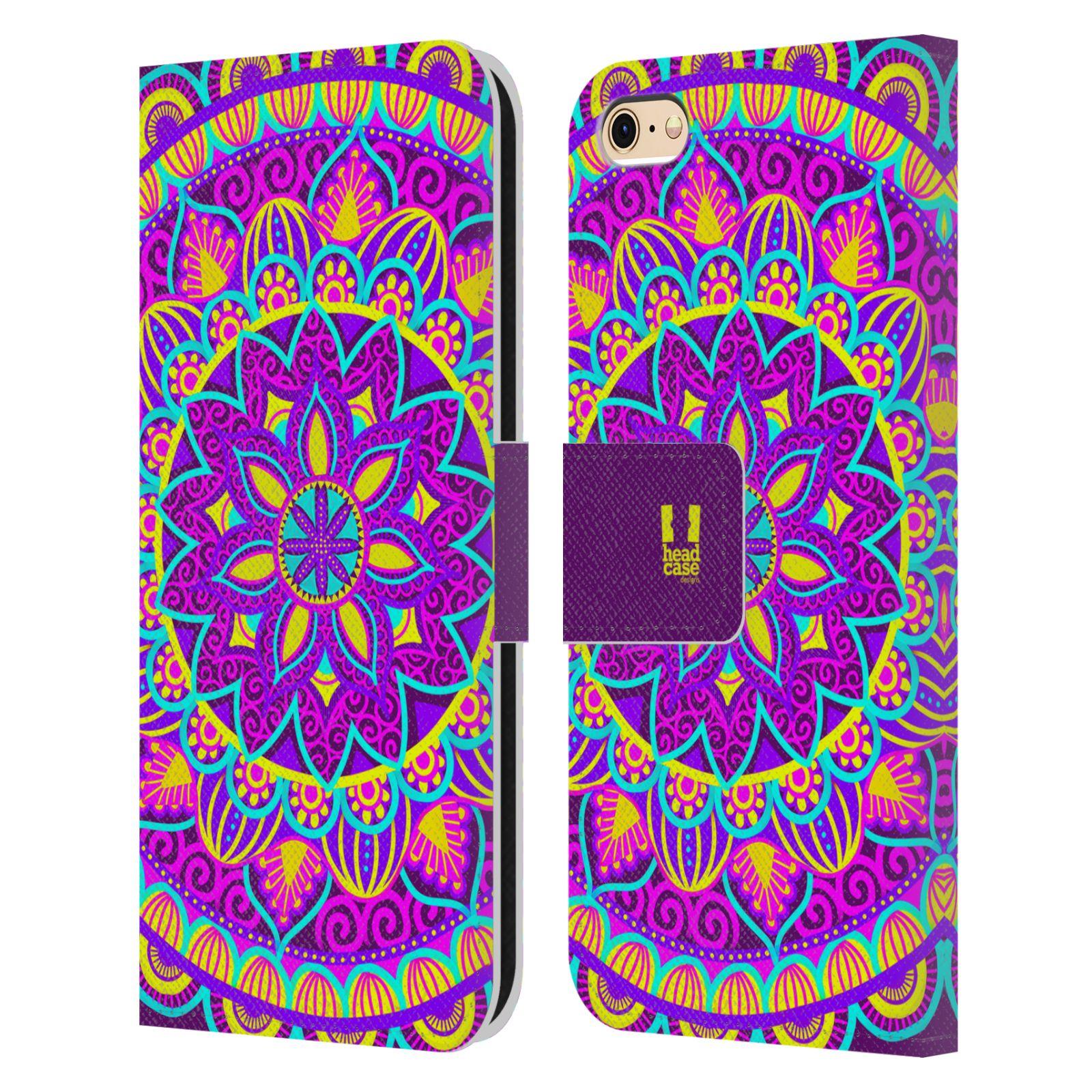 HEAD CASE Flipové pouzdro pro mobil Apple Iphone 6/6s květinová mandala barevná fialová