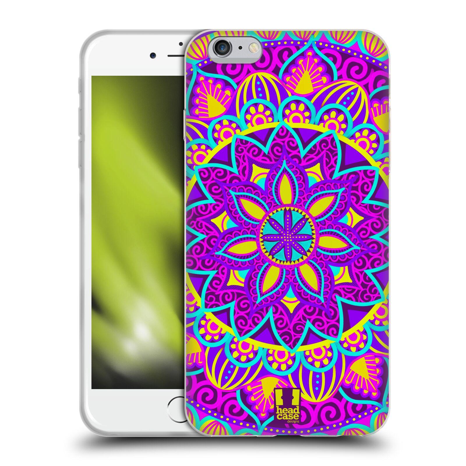 HEAD CASE silikonový obal na mobil Apple Iphone 6 PLUS/ 6S PLUS vzor Indie Mandala květinový motiv FIALOVÁ KVĚTINA