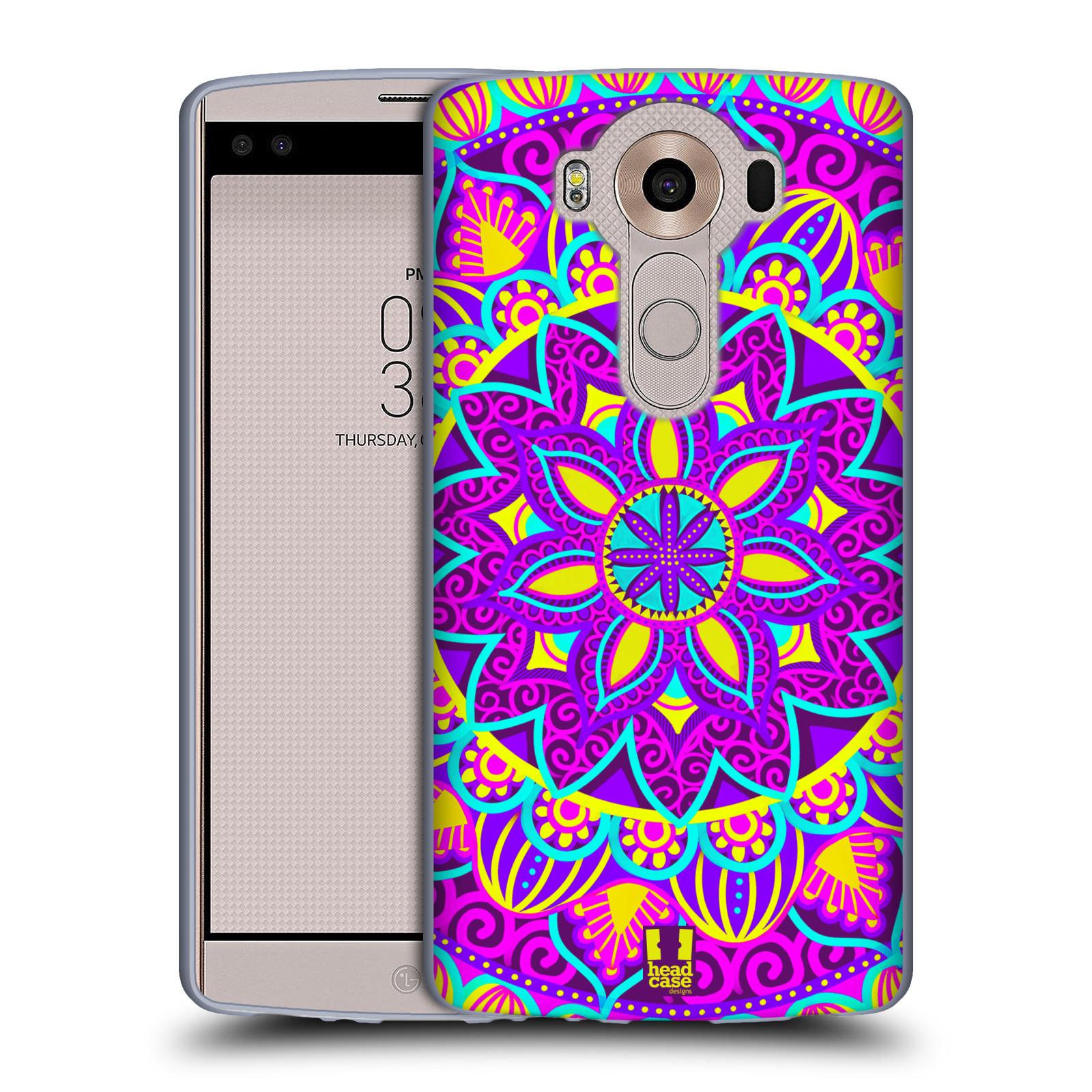 HEAD CASE silikonový obal na mobil LG V10 (H960A) vzor Indie Mandala květinový motiv FIALOVÁ KVĚTINA