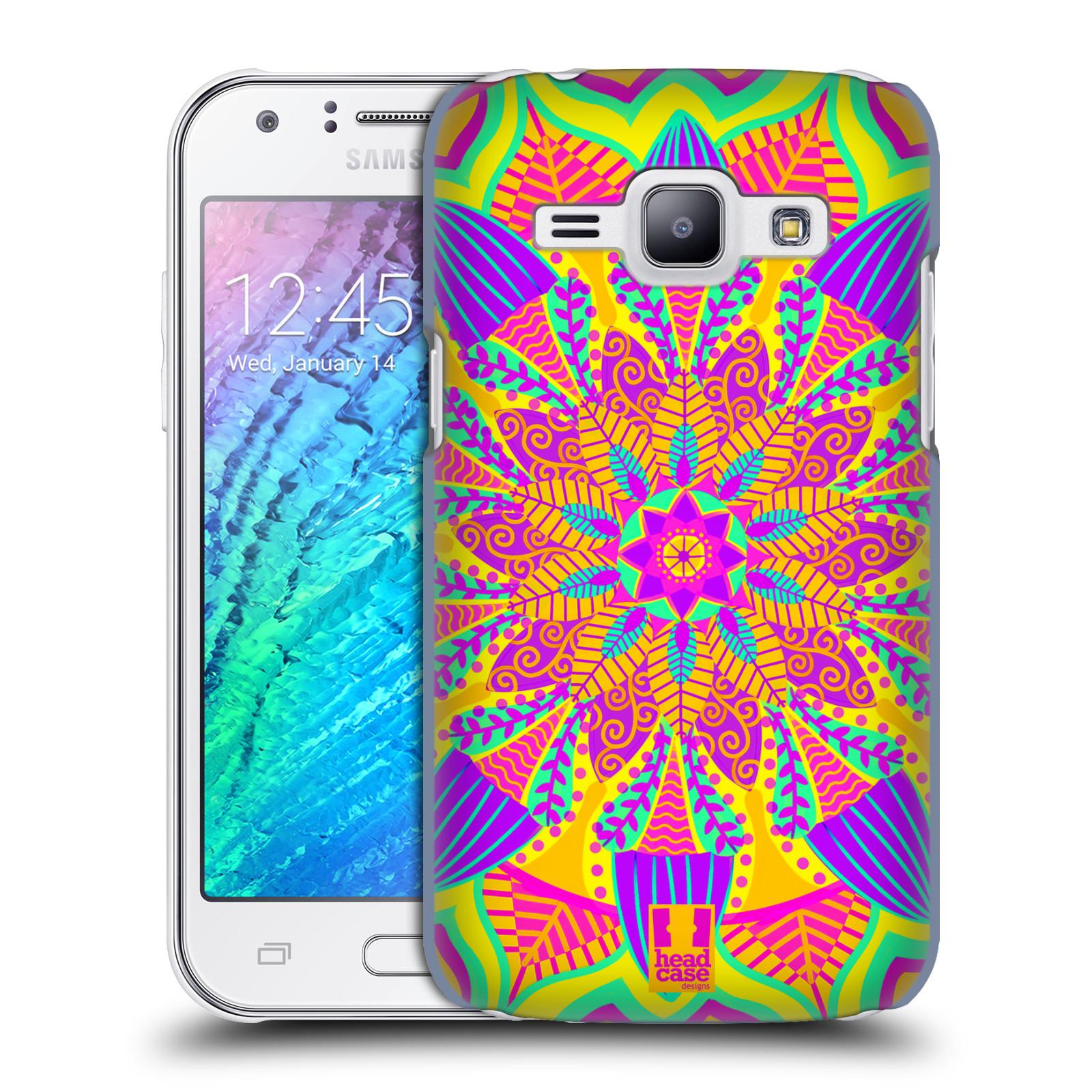 HEAD CASE plastový obal na mobil SAMSUNG Galaxy J1, J100 vzor Indie Mandala květinový motiv VÝCHOD SLUNCE LIMETKOVÁ