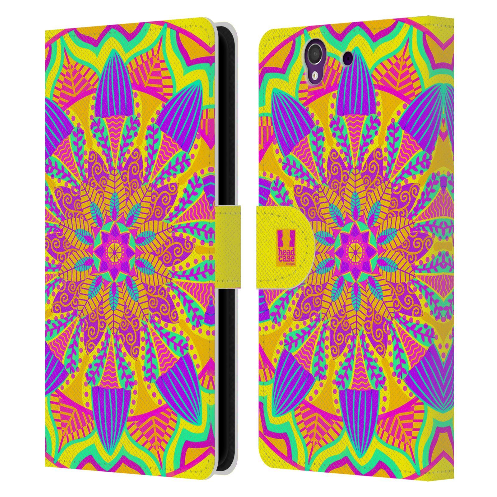 HEAD CASE Flipové pouzdro pro mobil SONY XPERIA Z (C6603) květinová mandala barevná fialová a zelená