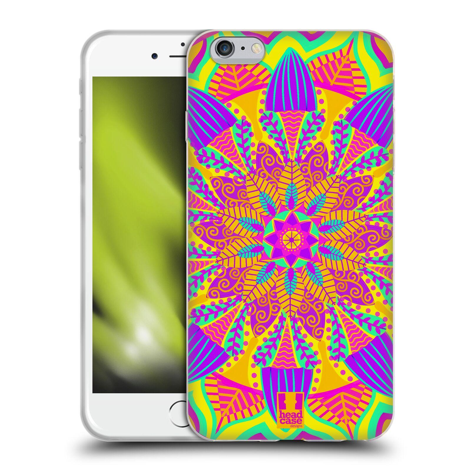 HEAD CASE silikonový obal na mobil Apple Iphone 6 PLUS/ 6S PLUS vzor Indie Mandala květinový motiv VÝCHOD SLUNCE LIMETKOVÁ