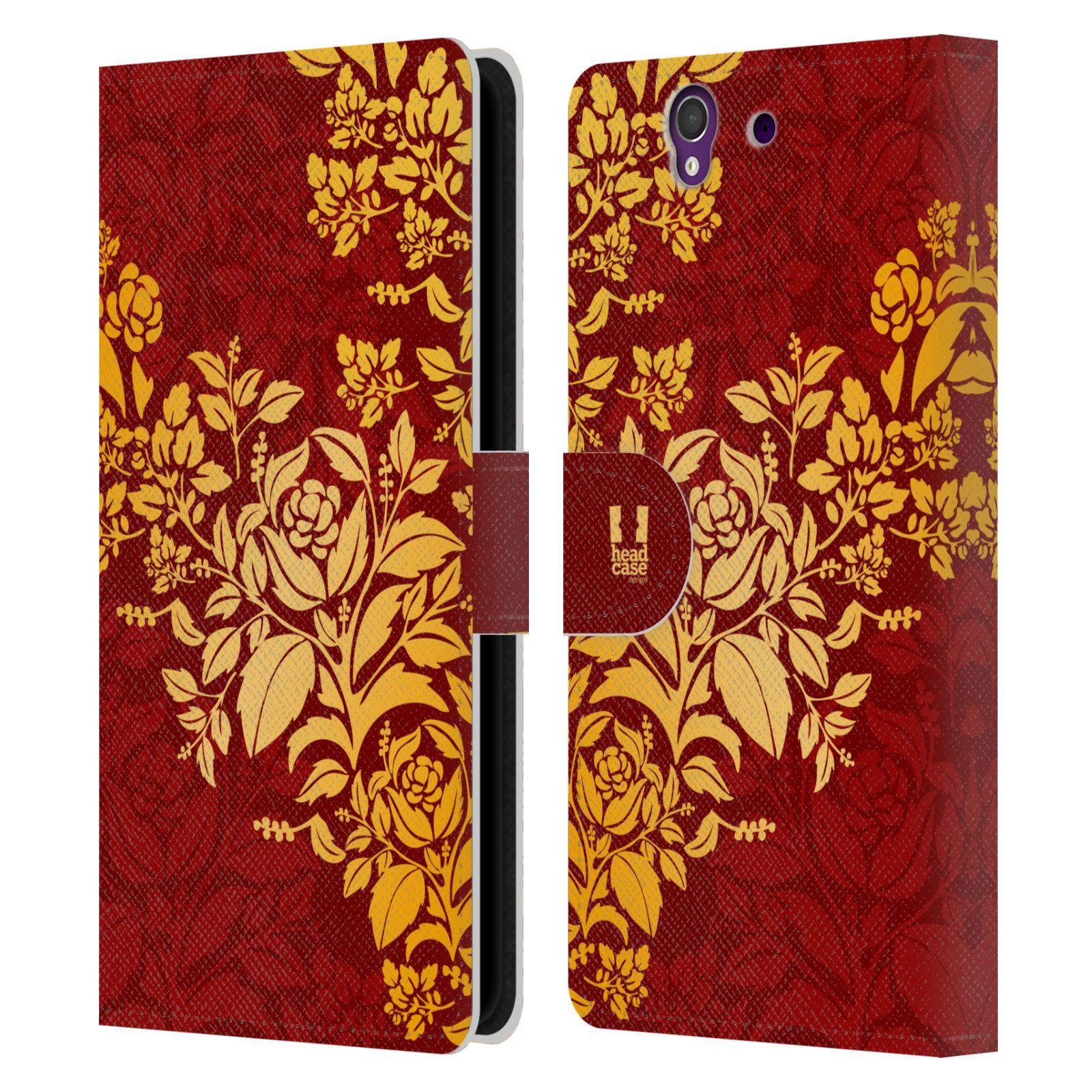 HEAD CASE Flipové pouzdro pro mobil SONY XPERIA Z (C6603) moderní baroko rudá a zlatá