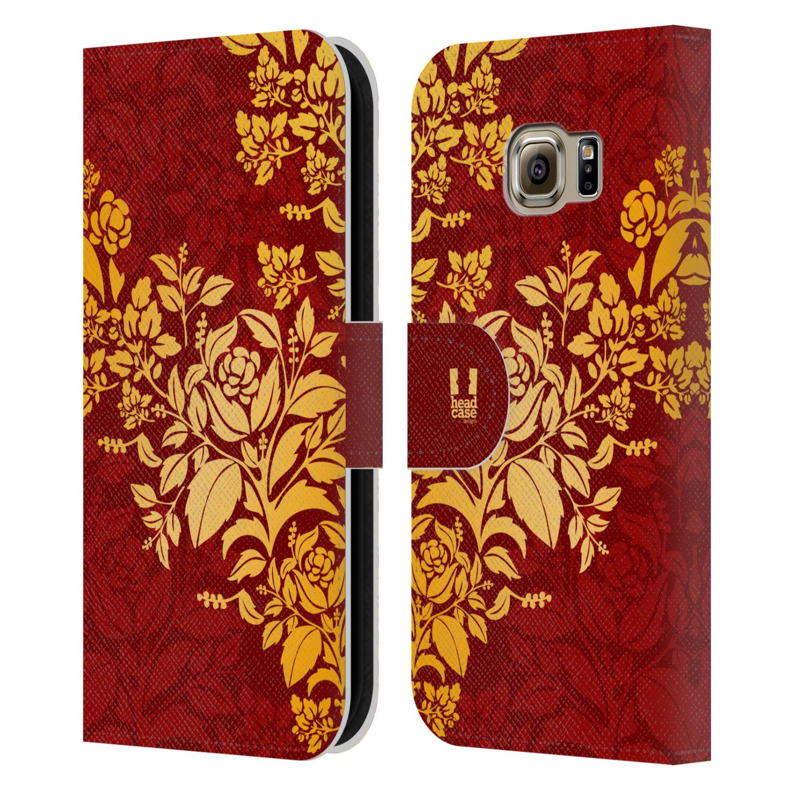 HEAD CASE Flipové pouzdro pro mobil Samsung Galaxy S6 EDGE moderní baroko rudá a zlatá
