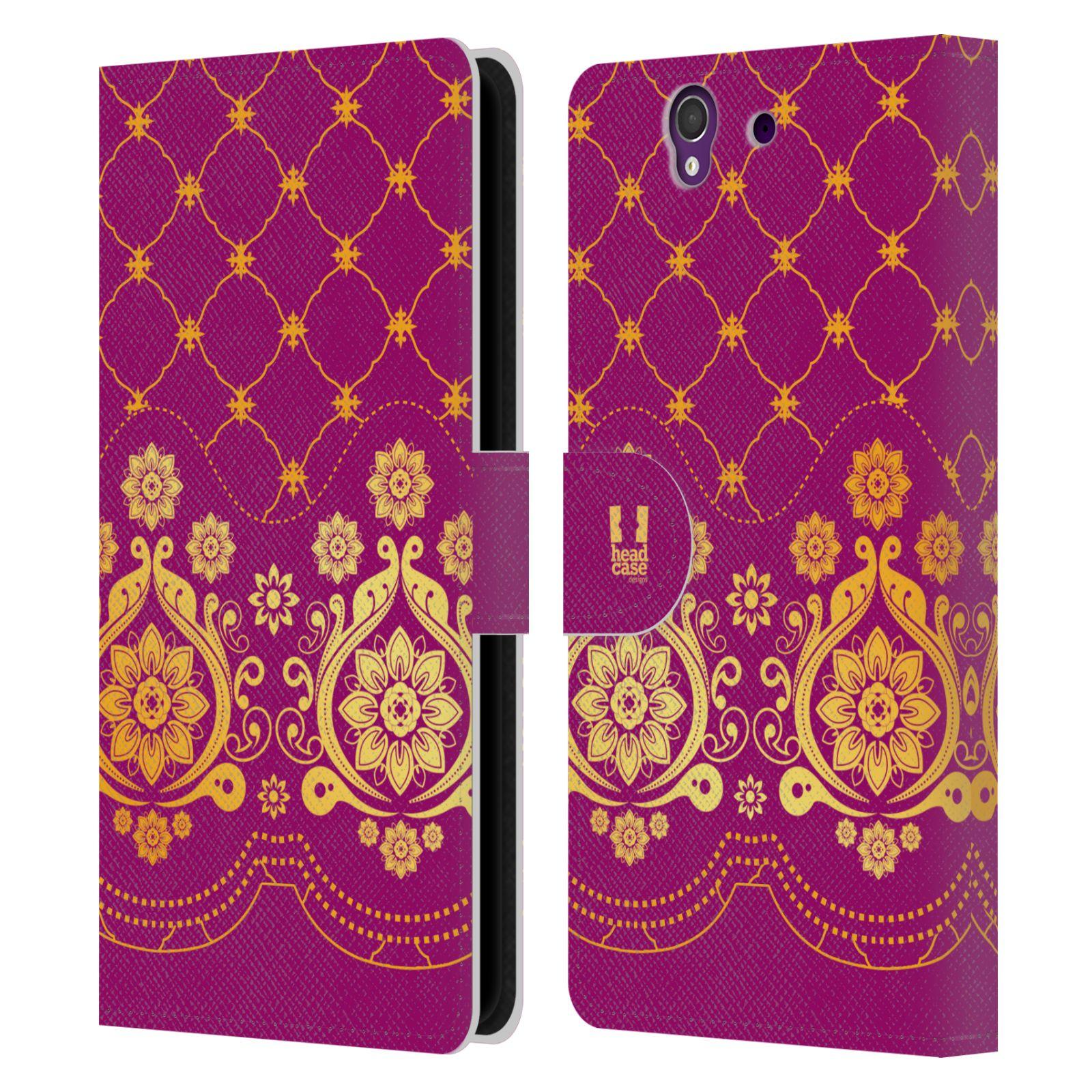 HEAD CASE Flipové pouzdro pro mobil SONY XPERIA Z (C6603) moderní baroko tmavě růžová a zlatá