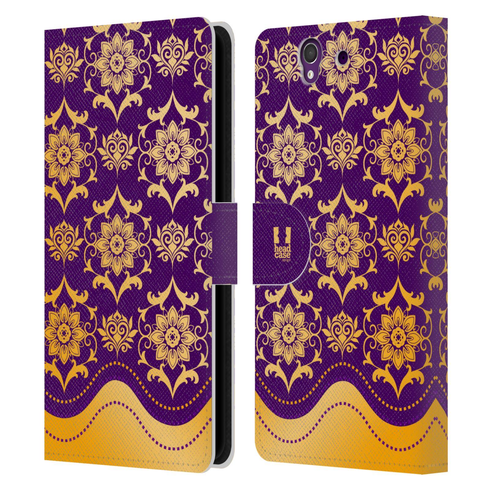 HEAD CASE Flipové pouzdro pro mobil SONY XPERIA Z (C6603) moderní baroko fialová a zlatá