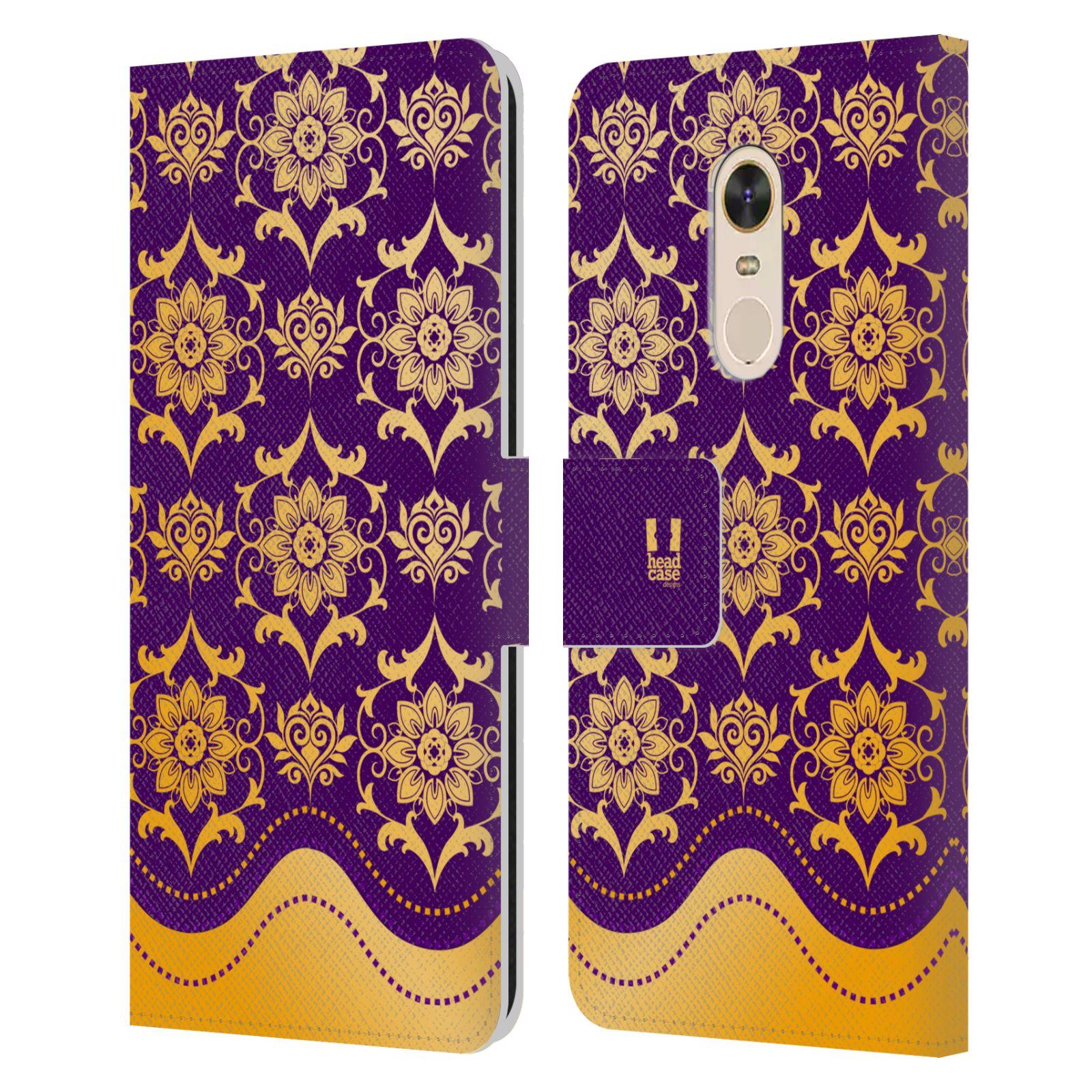 HEAD CASE Flipové pouzdro pro mobil Xiaomi Redmi Note 5 moderní baroko fialová a zlatá