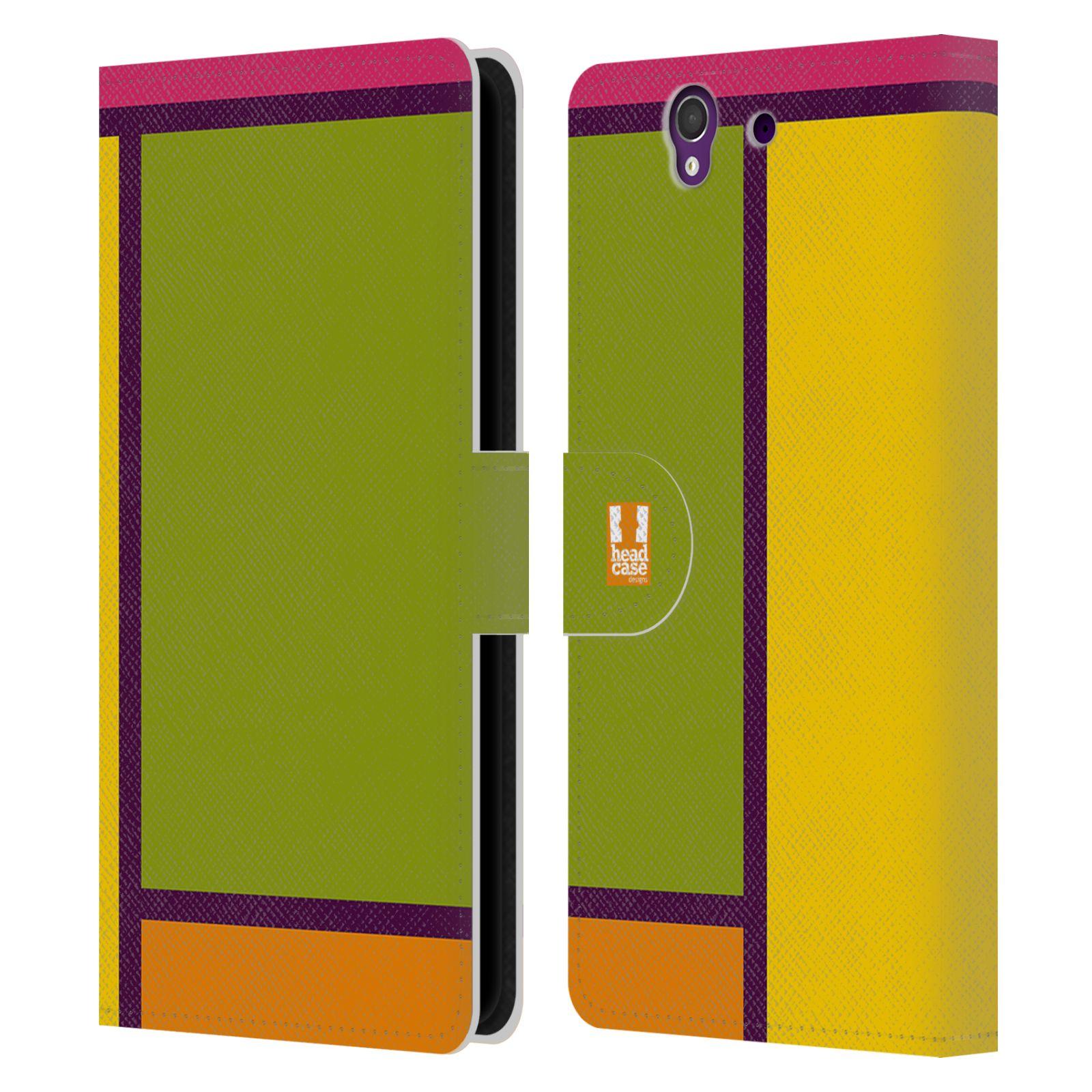 HEAD CASE Flipové pouzdro pro mobil SONY XPERIA Z (C6603) MODERN barevná kostka zelená a žlutá