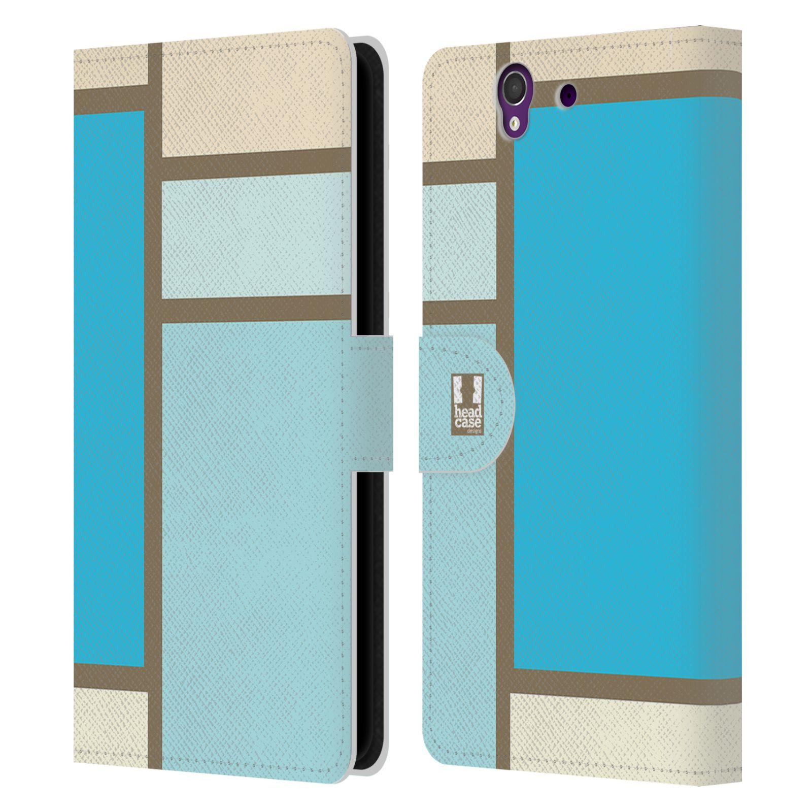 HEAD CASE Flipové pouzdro pro mobil SONY XPERIA Z (C6603) MODERN barevná kostka modrá a šedá SEA