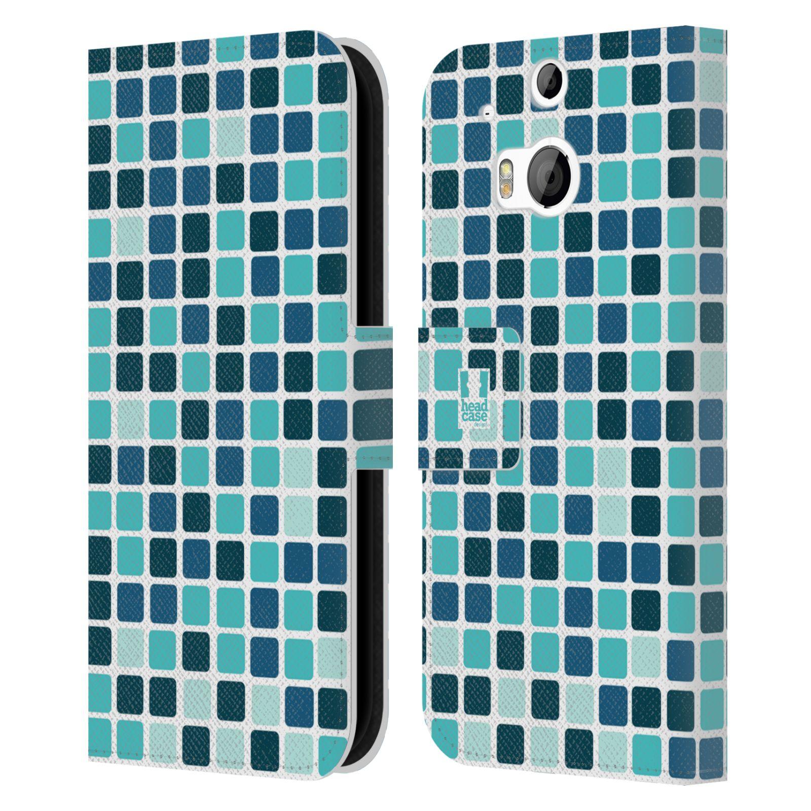 HEAD CASE Flipové pouzdro pro mobil HTC ONE (M8, M8s) DISKO kostičky modrá