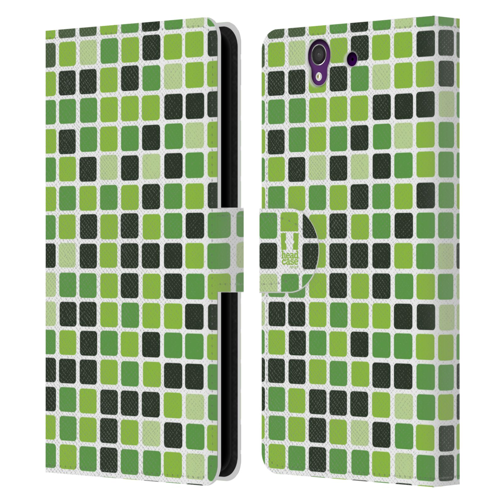 HEAD CASE Flipové pouzdro pro mobil SONY XPERIA Z (C6603) DISKO kostičky zelená
