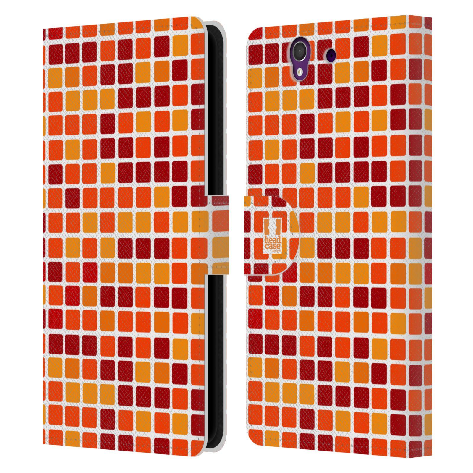 HEAD CASE Flipové pouzdro pro mobil SONY XPERIA Z (C6603) DISKO kostičky oranžová