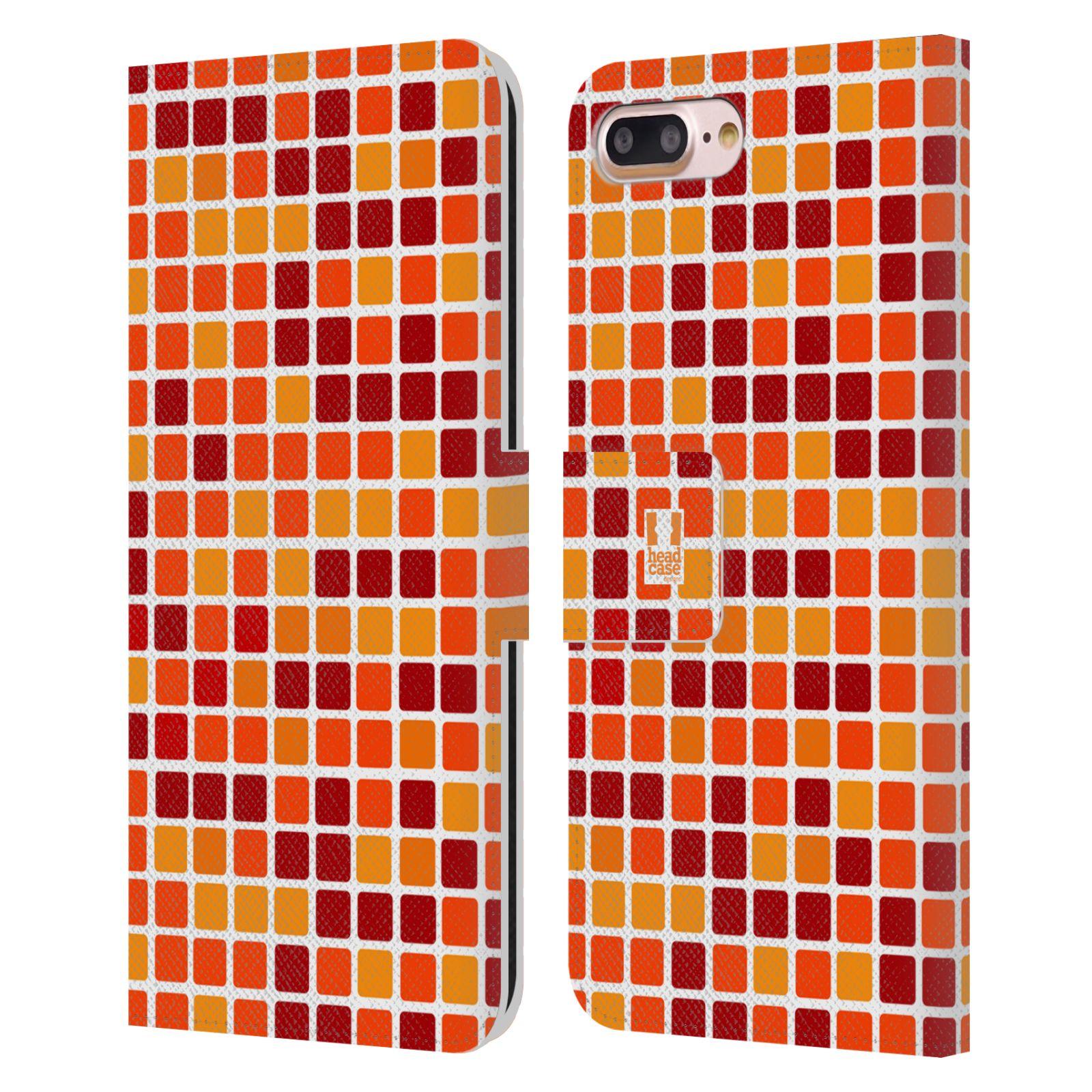 HEAD CASE Flipové pouzdro pro mobil Apple Iphone 7 PLUS / 8 PLUS DISKO kostičky oranžová