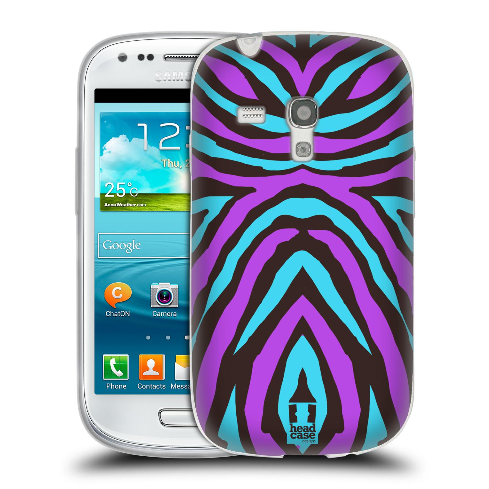 HEAD CASE silikonový obal na mobil Samsung Galaxy S3 MINI i8190 vzor Divočina zvíře 2 bláznivé pruhy fialová a modrá