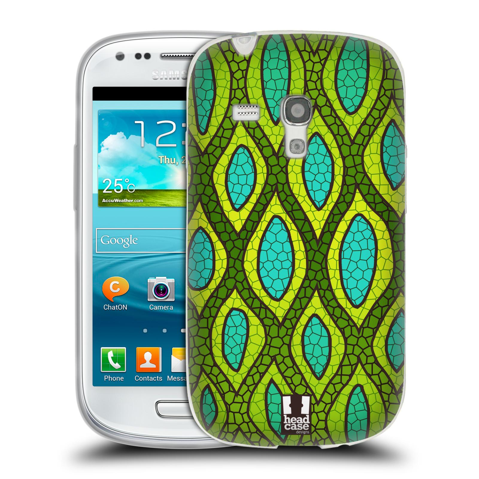 HEAD CASE silikonový obal na mobil Samsung Galaxy S3 MINI i8190 vzor Divočina zvíře 2 hadí kůže zelená