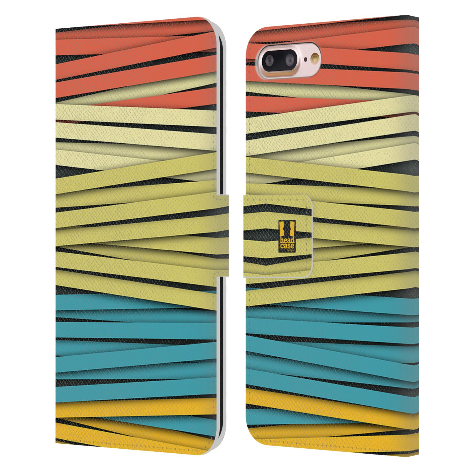 HEAD CASE Flipové pouzdro pro mobil Apple Iphone 7 PLUS / 8 PLUS barevná mumie proužky ENJOY červená a žlutá