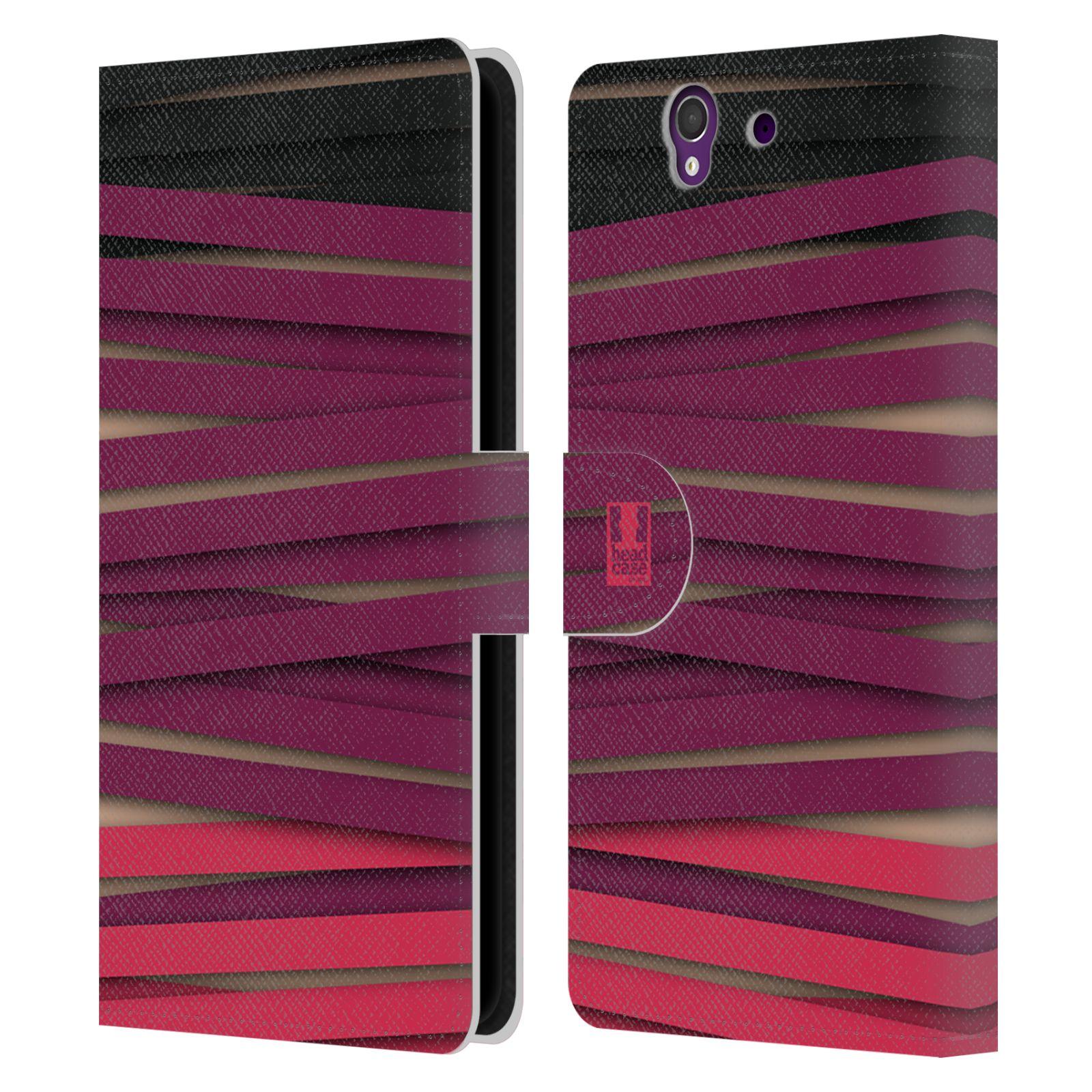HEAD CASE Flipové pouzdro pro mobil SONY XPERIA Z (C6603) barevná mumie proužky fialová a černá
