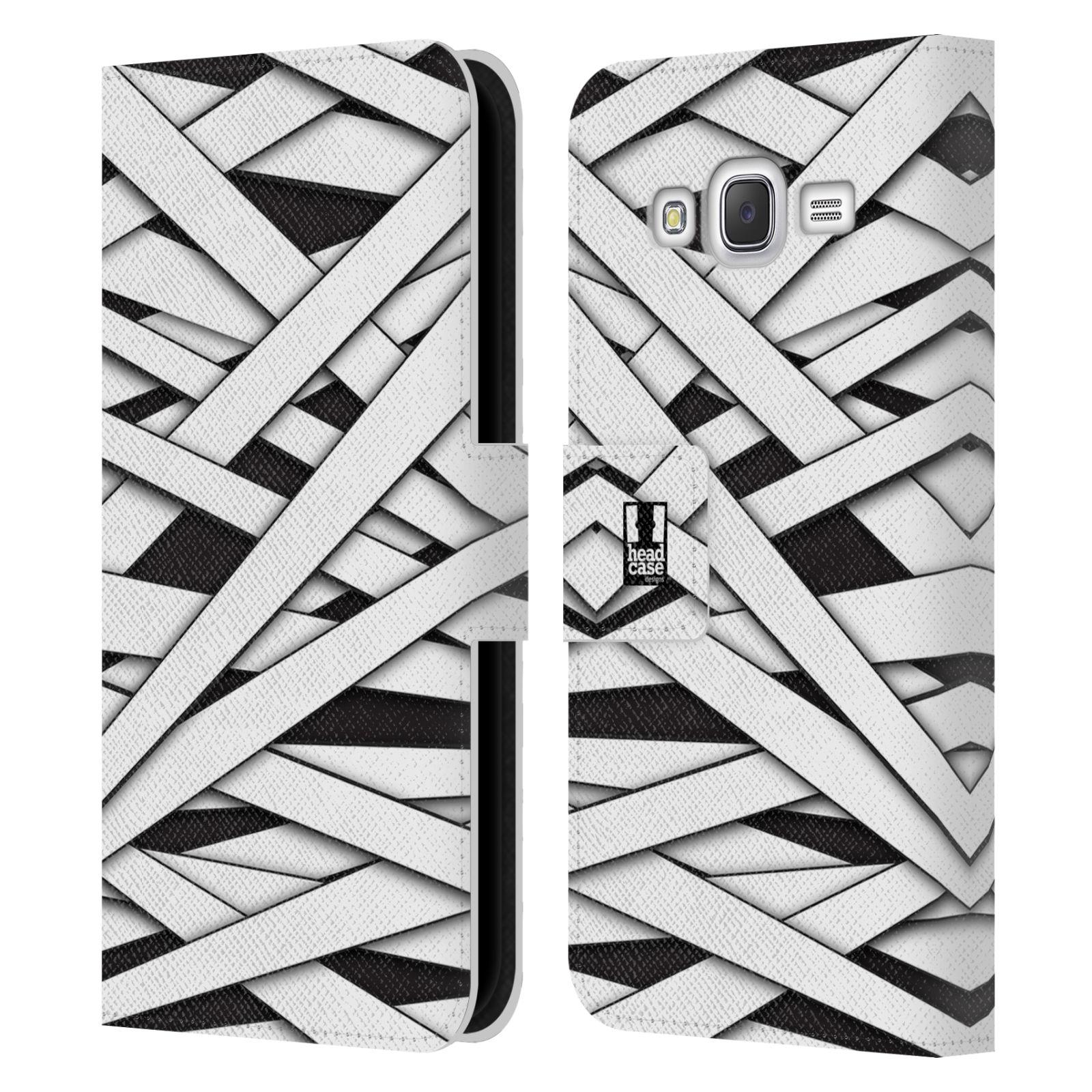 HEAD CASE Flipové pouzdro pro mobil Samsung Galaxy J5 (J500) / J5 DUOS barevná mumie proužky černá a bílá